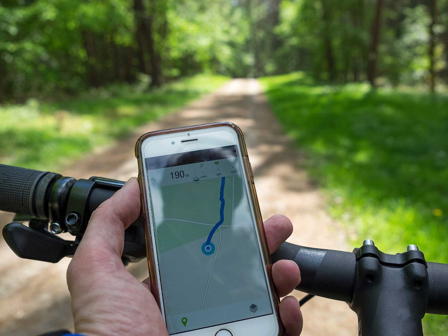 Phone on bicycle ride.