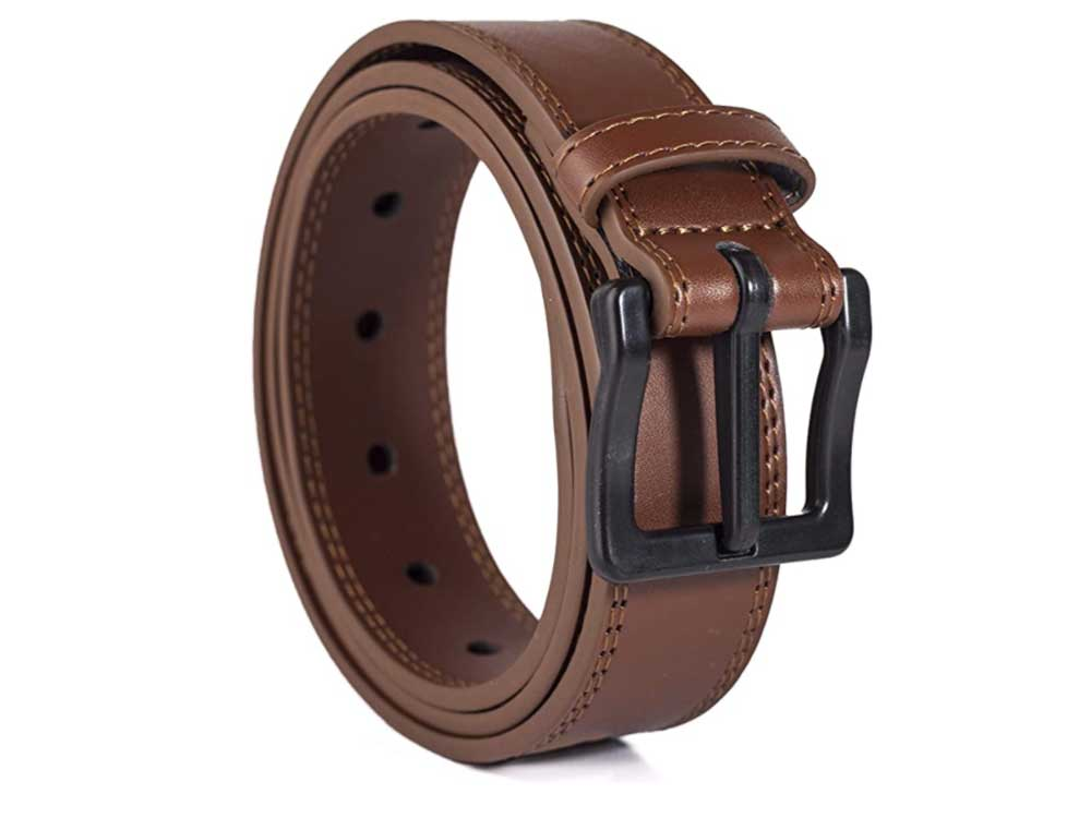 ITAY Metal Free Leather Belt - 34 mm - Hypoallergenic - Airport Friendly Nickel Free Strong New Buckle