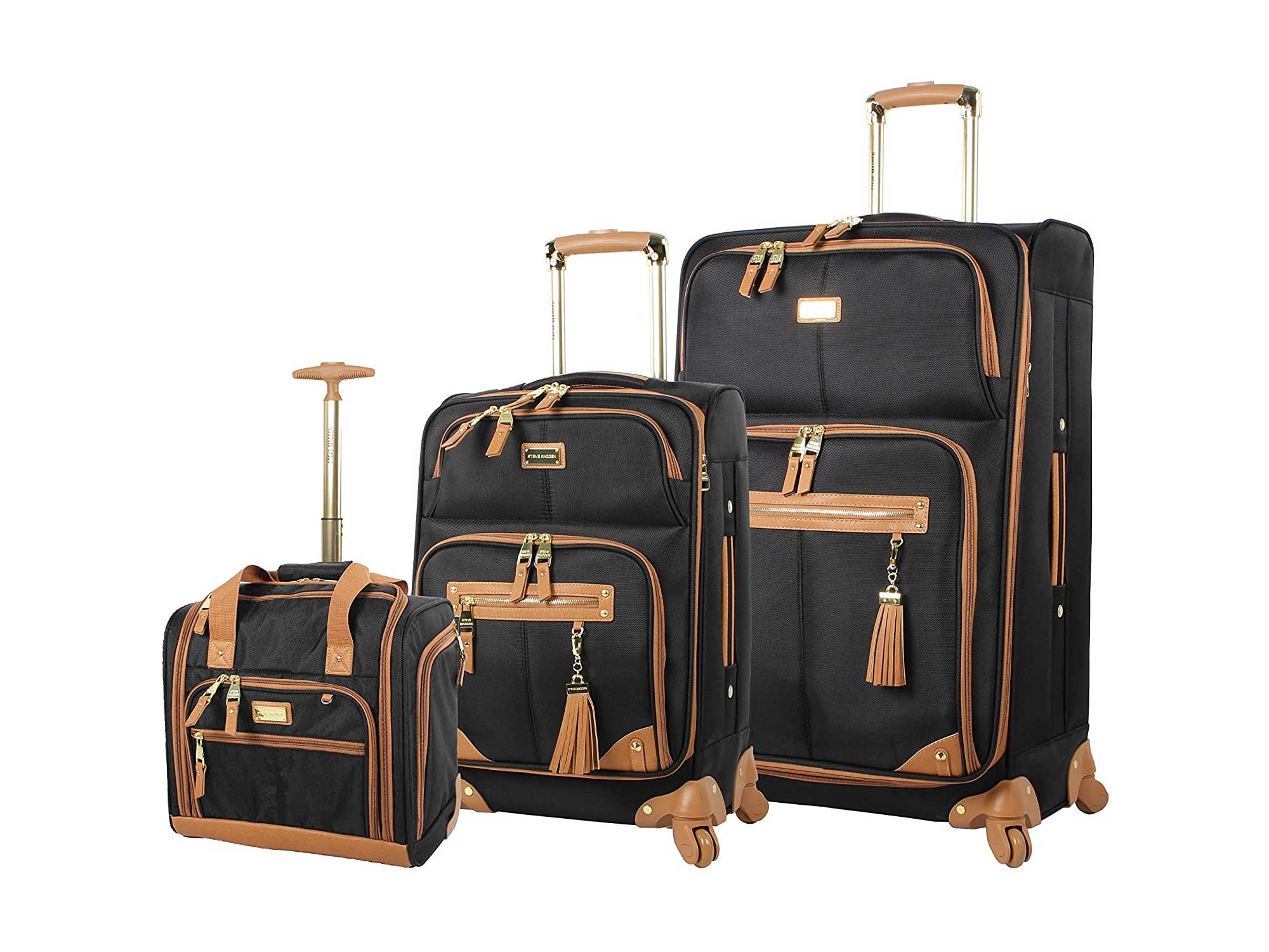 Steve Madden Designer Luggage Collection- 3 Piece Softside Expandable Lightweight Spinner Suitcases- Travel Set includes Under Seat Bag, 20-Inch Carry on & 28-Inch Checked Suitcase