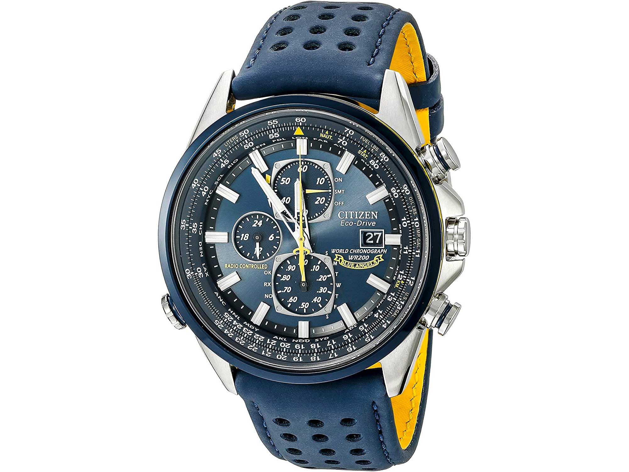 Citizen Men's Eco-Drive Blue Angels World Chronograph Atomic Timekeeping Watch with Day/Date