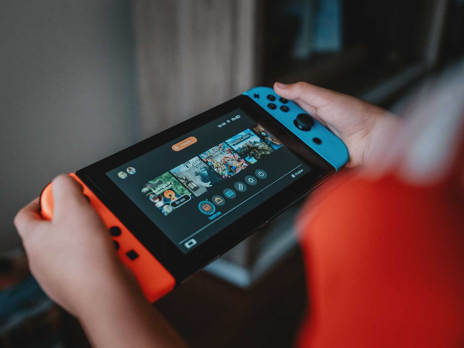 Playing game on Nintendo Switch.