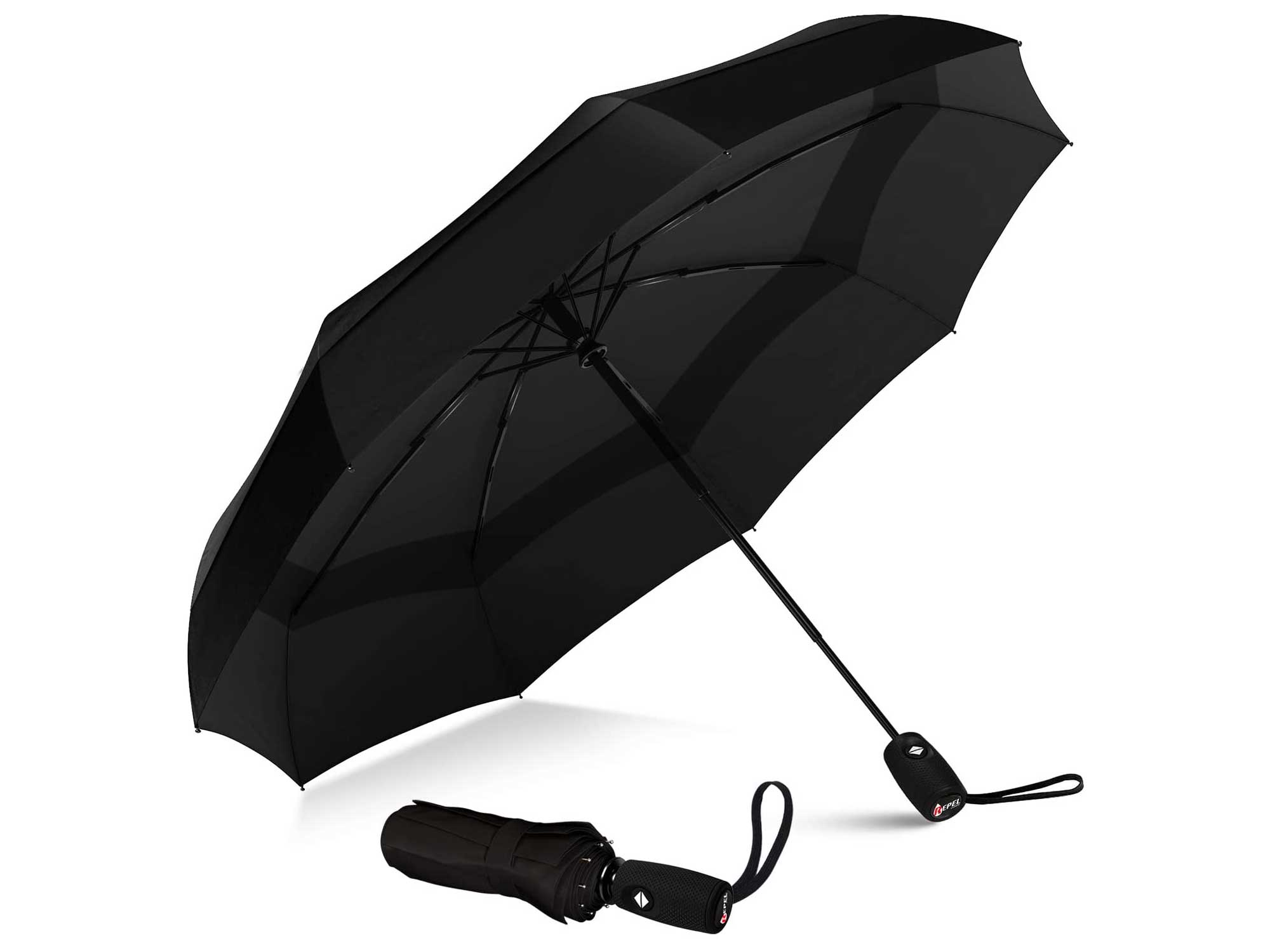 Repel Umbrella Windproof Double Vented Travel Umbrella with Teflon Coating (Black)