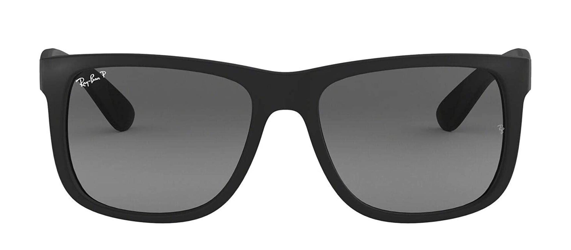 Ray-Ban Justin Rectangular Sunglasses, Black Rubber/Polarized Grey Gradient, 55 mm