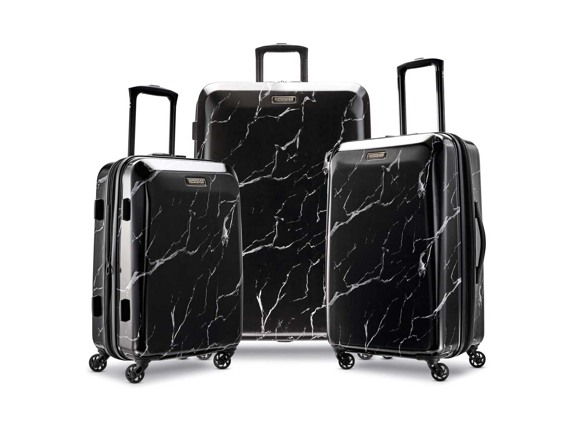 American Tourister Moonlight Hardside Expandable Luggage with Spinner Wheels, Black Marble, 3-Piece Set