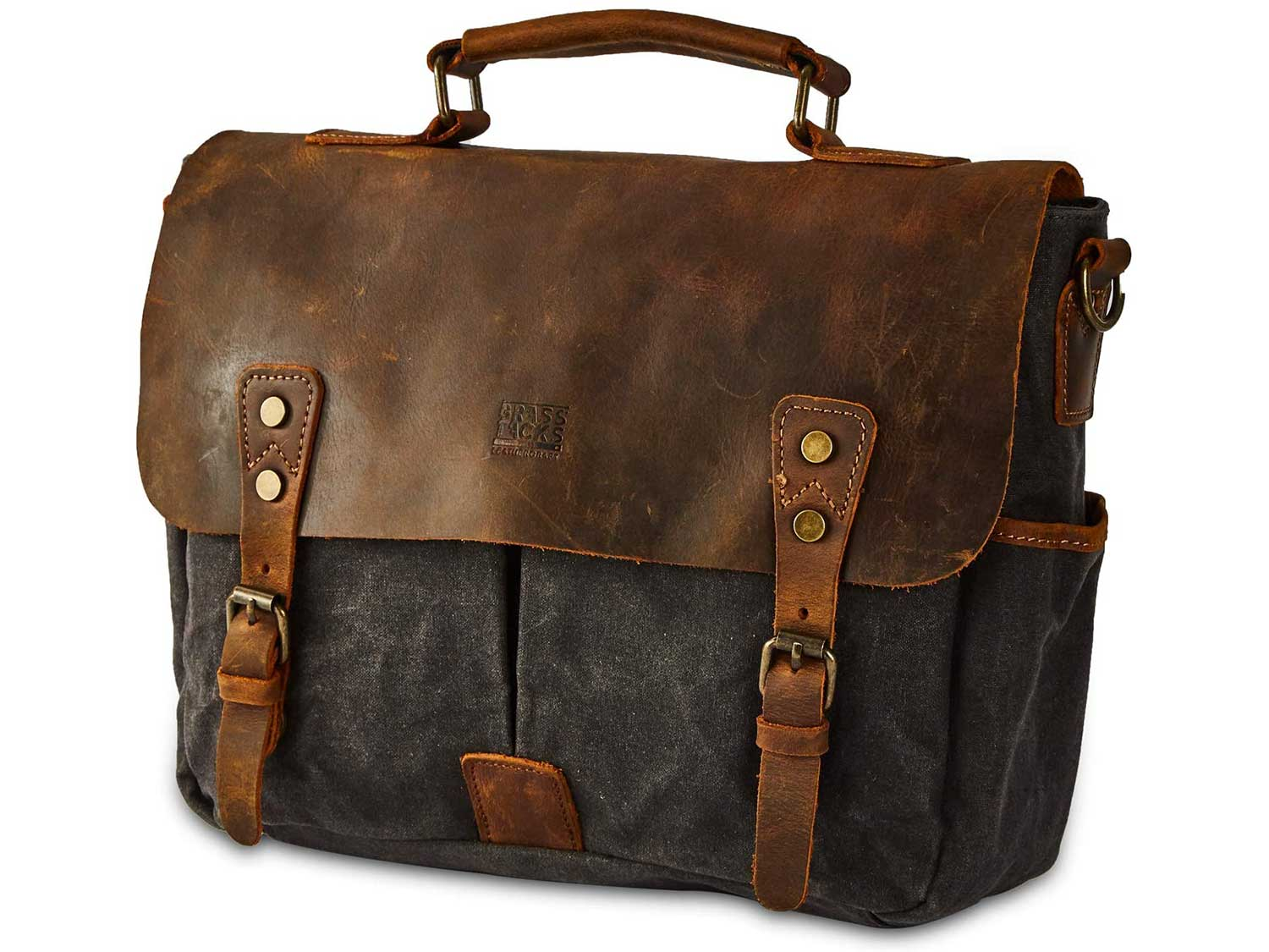BRASS TACKS Leathercraft Vintage 14 inch Laptop Briefcase Shoulder Messenger Bag for Men Women Heavy Duty Waterproof Canvas and Genuine Leather