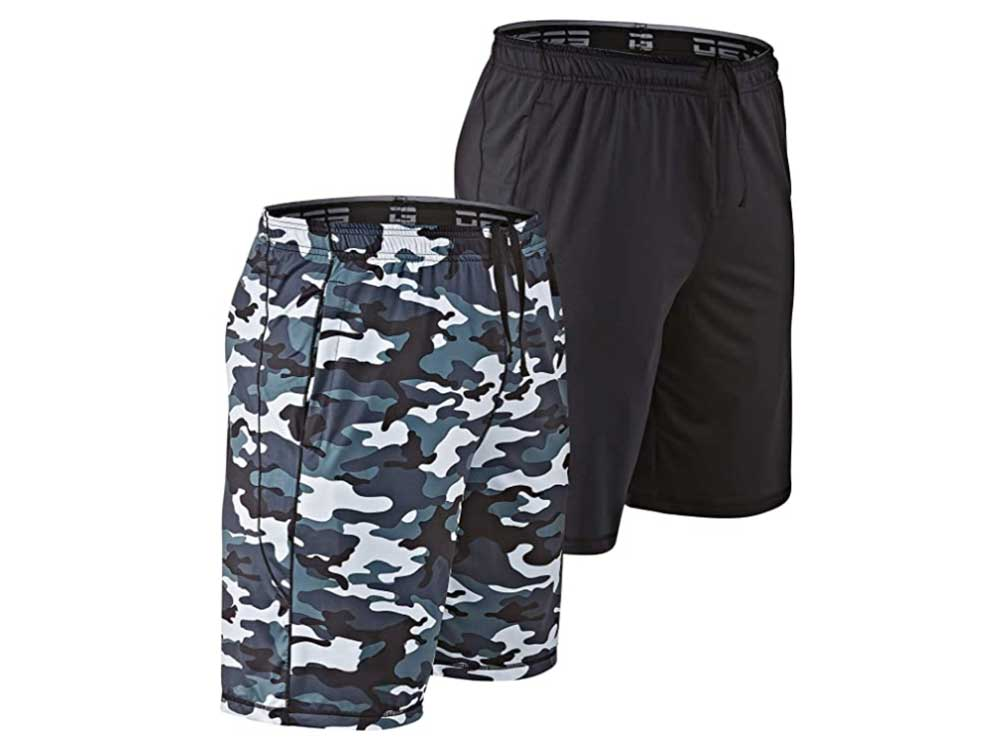 DEVOPS Men's 2 Pack Cool Chain 10-inch Loose-Fit Workout Training Shorts