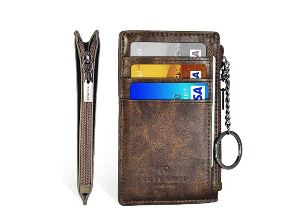 Slim Minimalist Wallet RFID Front Pocket Credit Card Holder for Men & Women Leather Wallet with Keychain