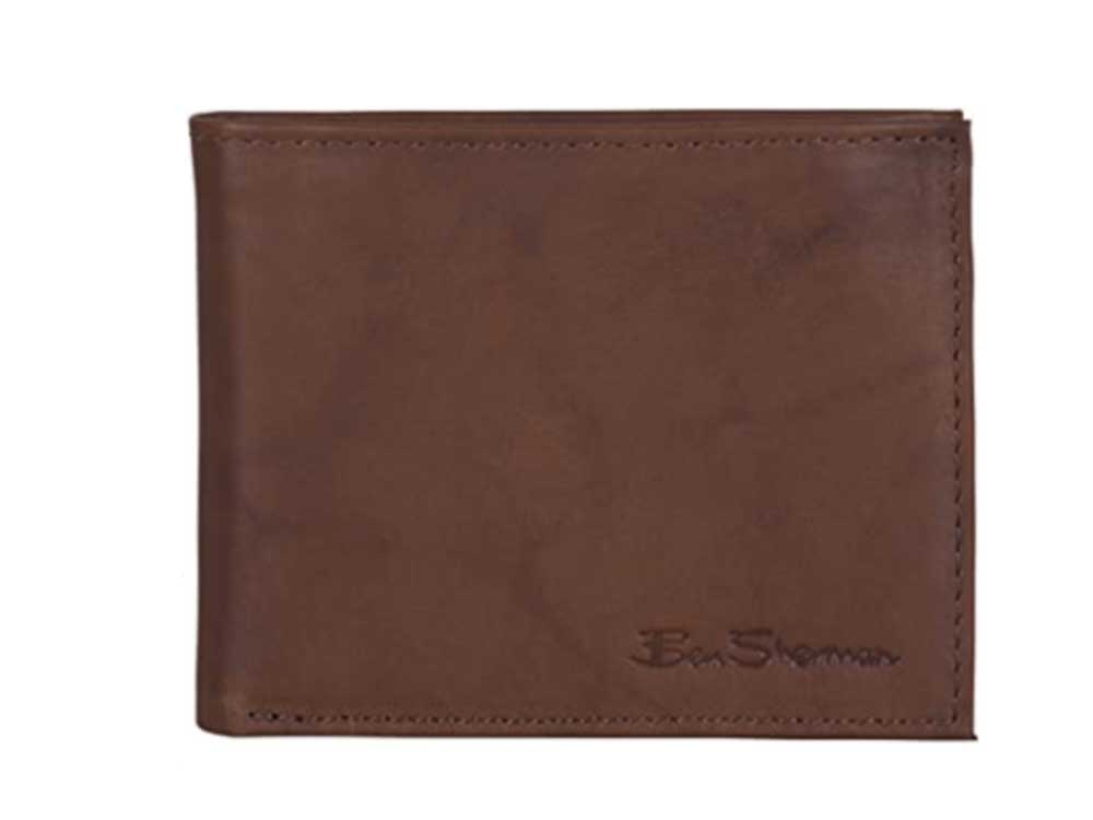 Ben Sherman Men's Slimfold Full-Grain Anti-Theft RFID Security ID Window, Marble Crunch Brown Leather, Passcase Bi-Fold Wallet
