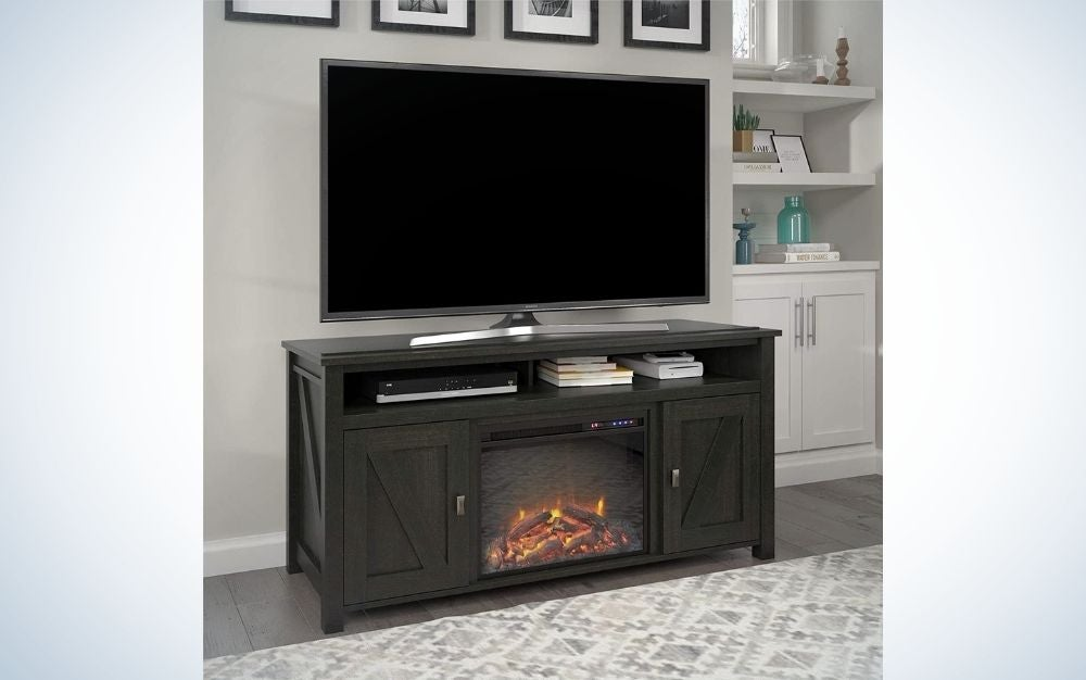 """The Ameriwood Home Farmington Electric Fireplace Console 60"""" is the best entertainment center with a fireplace."""