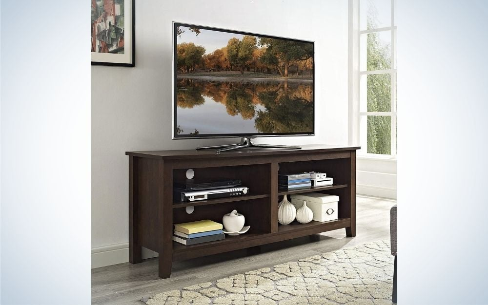 The Walker Edison Wren Classic 4 Cubby TV Stand is the best overall.