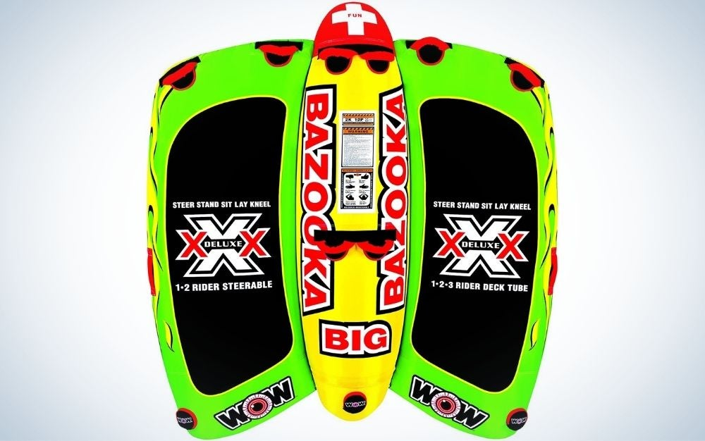 The WOW Bazooka Inflatable Towable Deck Tube is the one best boat tubes for boat decks.