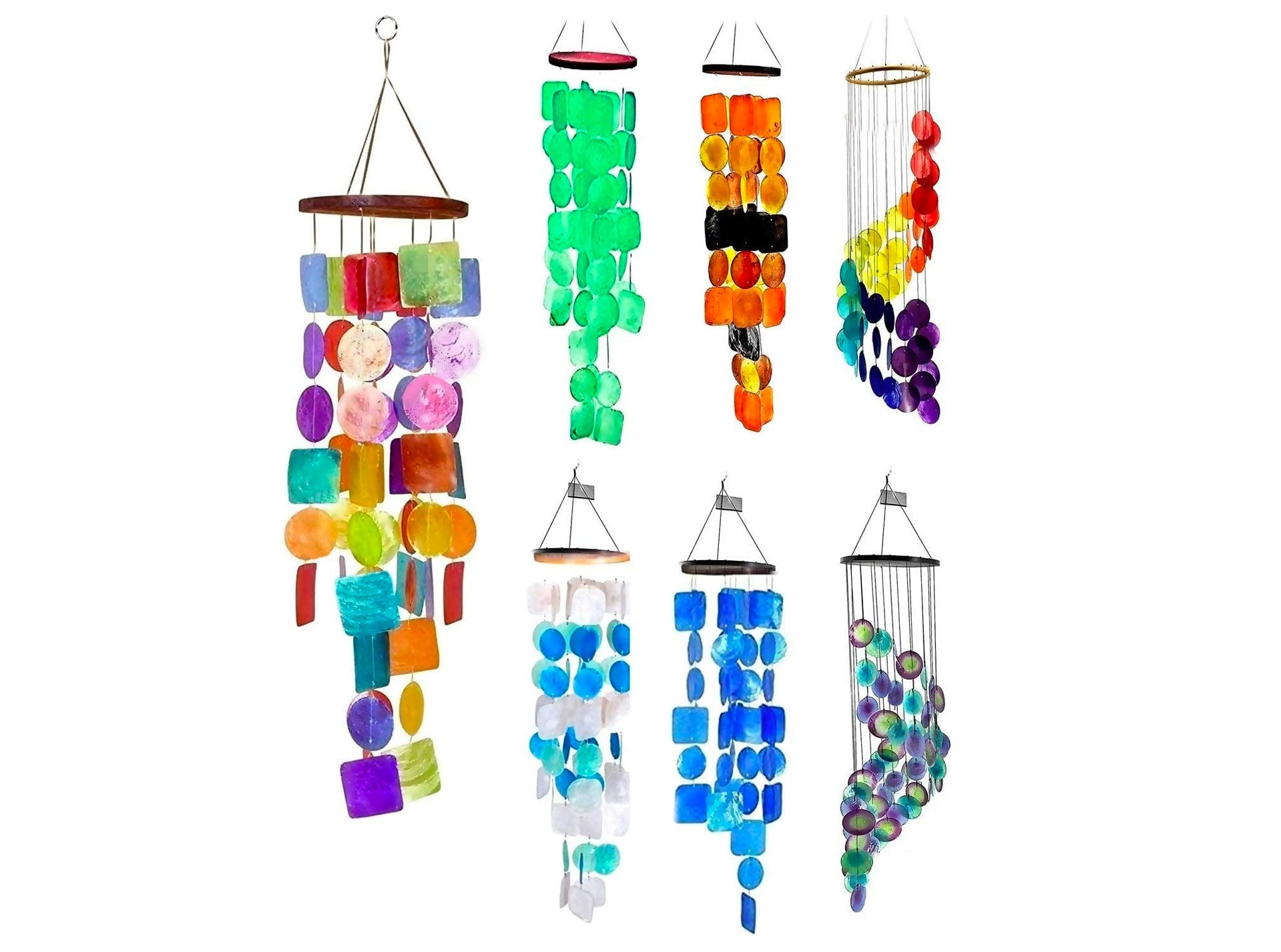 Bellaa Rainbow Wind Chimes Patio Lawn Garden Unique Wind Chimes Hanging Capiz Memorial Grace Handmade Chimes 27 inch Presents for Mom Gifts for Grandma
