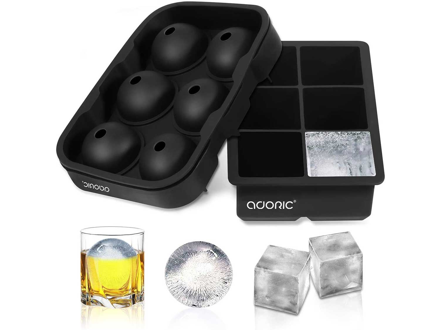 Adoric Ice Cube Trays Silicone Set of 2, Sphere Ice Ball Maker with Lid and Large Square Ice Cube Molds for Whiskey, Reusable and BPA Free (Ice Cube Trays Silicone Set of 2)