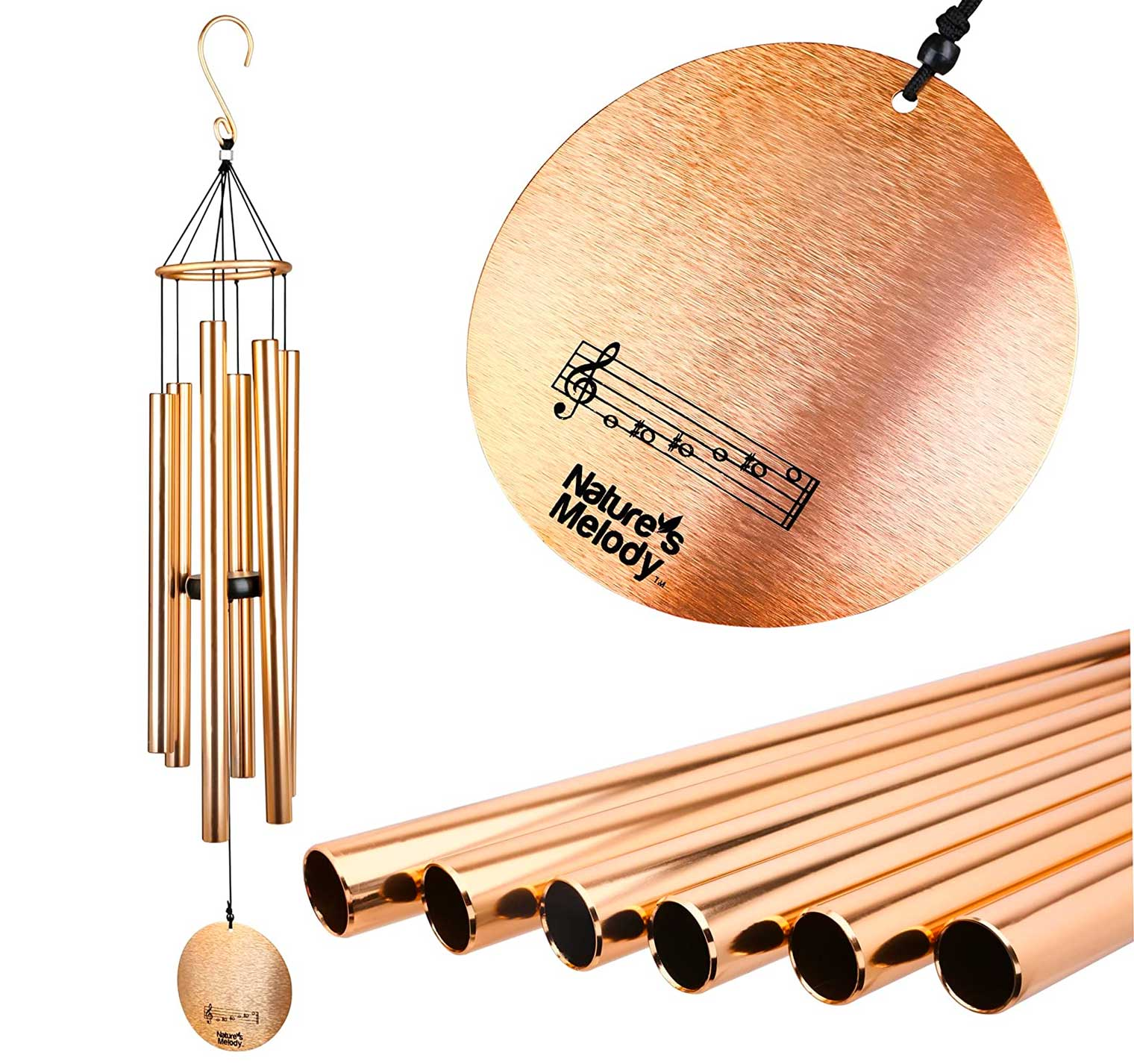 Nature's Melody Aureole Tunes Wind Chimes – Outdoor Windchime with 6 Tubes Tuned to E Pentatonic Scale, 100% Rustproof Aluminum, Powder Finish & S Hook Hanger for Sympathy, Memorial Gift or Zen Garden
