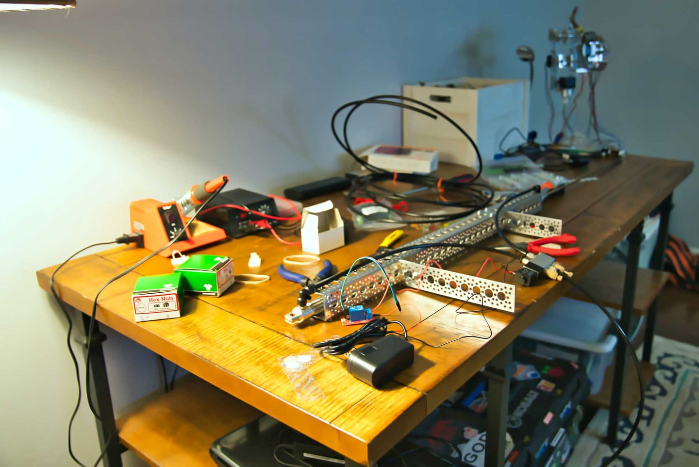 Electrical supplies on a work bench
