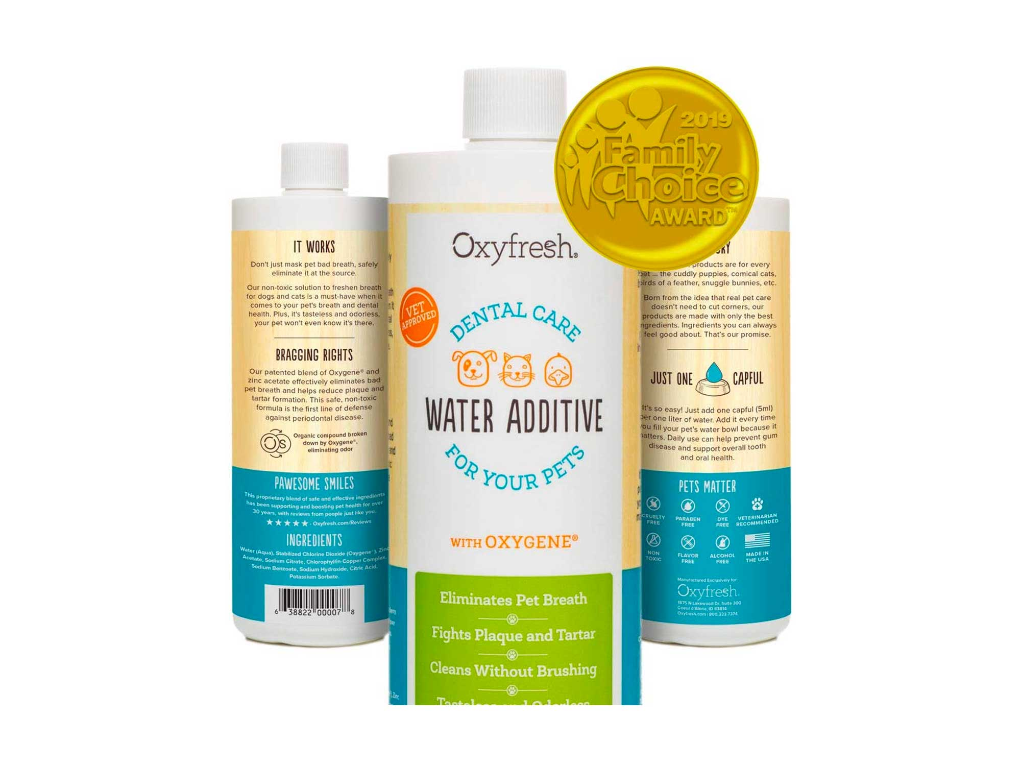 Oxyfresh Premium Pet Dental Care Solution Pet Water Additive: Best Way to Eliminate Bad Dog & Cat Breath- Fights Tartar & Plaque | Vet Recommended!