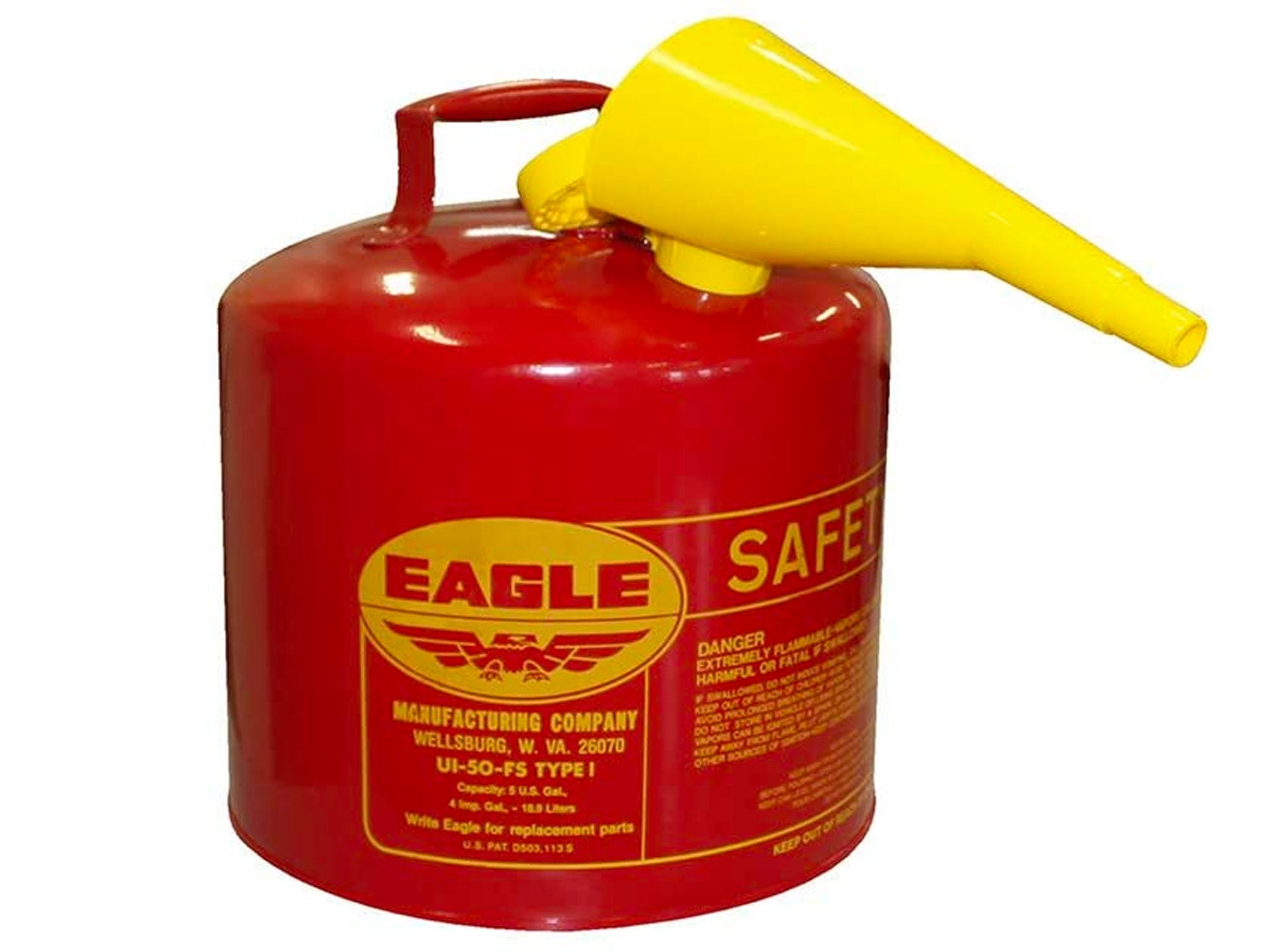 UI-50-FS Red Galvanized Steel Type I Gasoline Safety Can with Funnel, 5 Gallon Capacity, 13.5