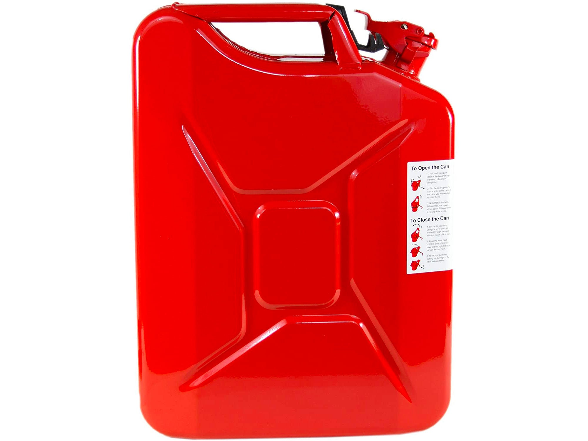 Wavian USA Red Authentic NATO Jerry Fuel Can and Spout System (20 Liter)