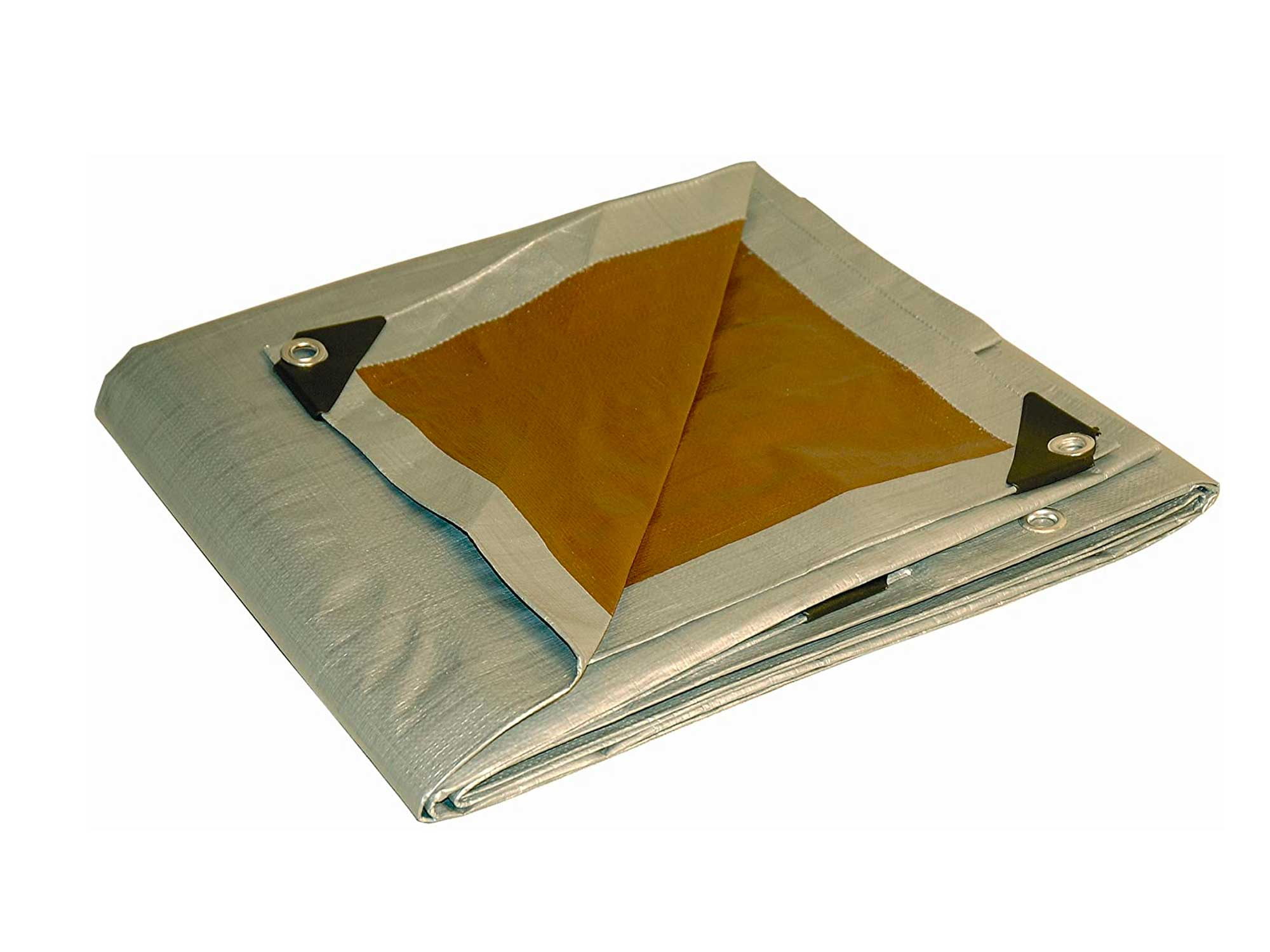 10x15 Multi-Purpose Silver/Brown Heavy Duty DRY TOP Poly Tarp