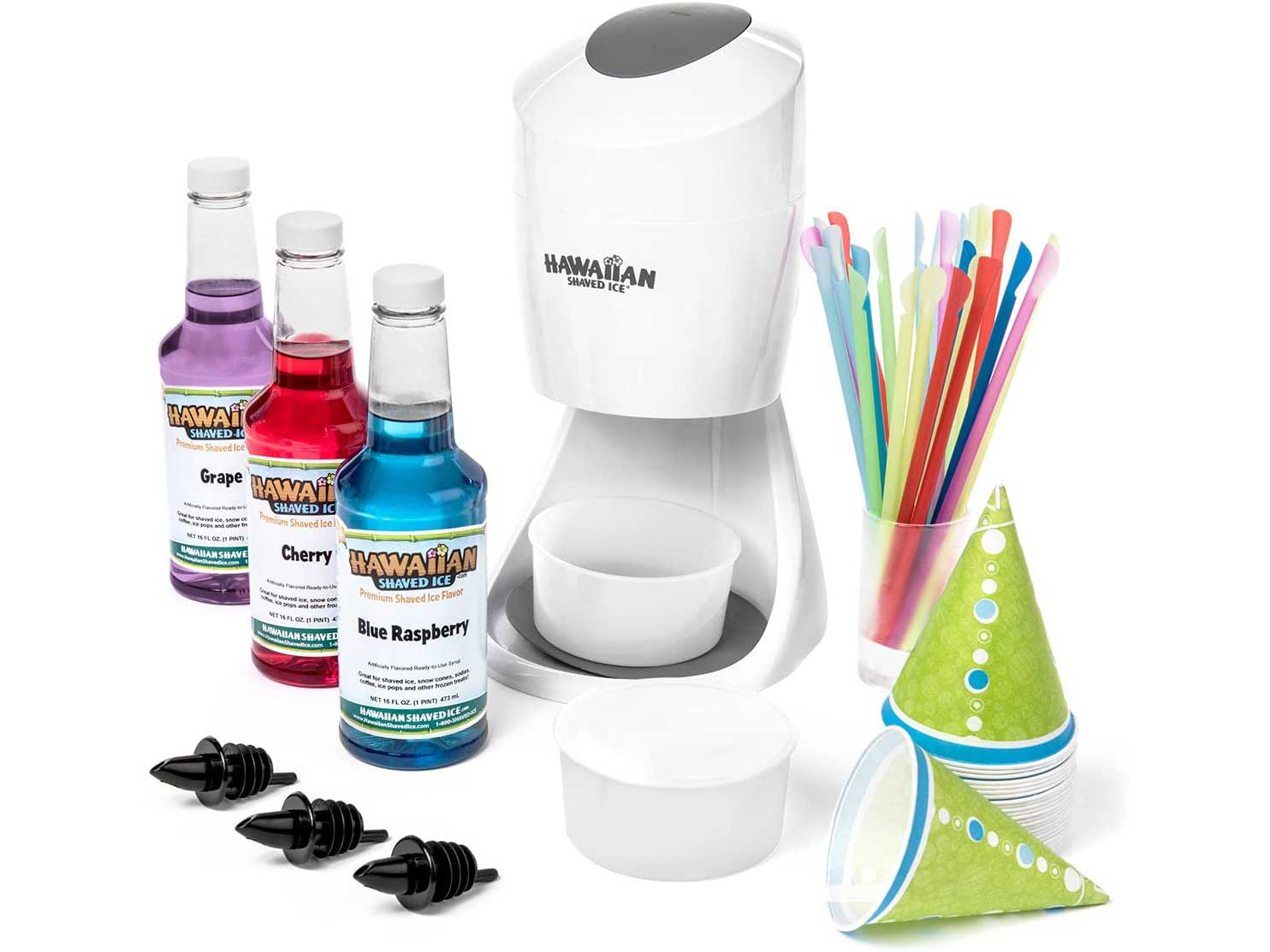 Hawaiian Shaved Ice S900A Shaved Ice and Snow Cone Machine with 3 Flavor Syrup Pack and Accessories