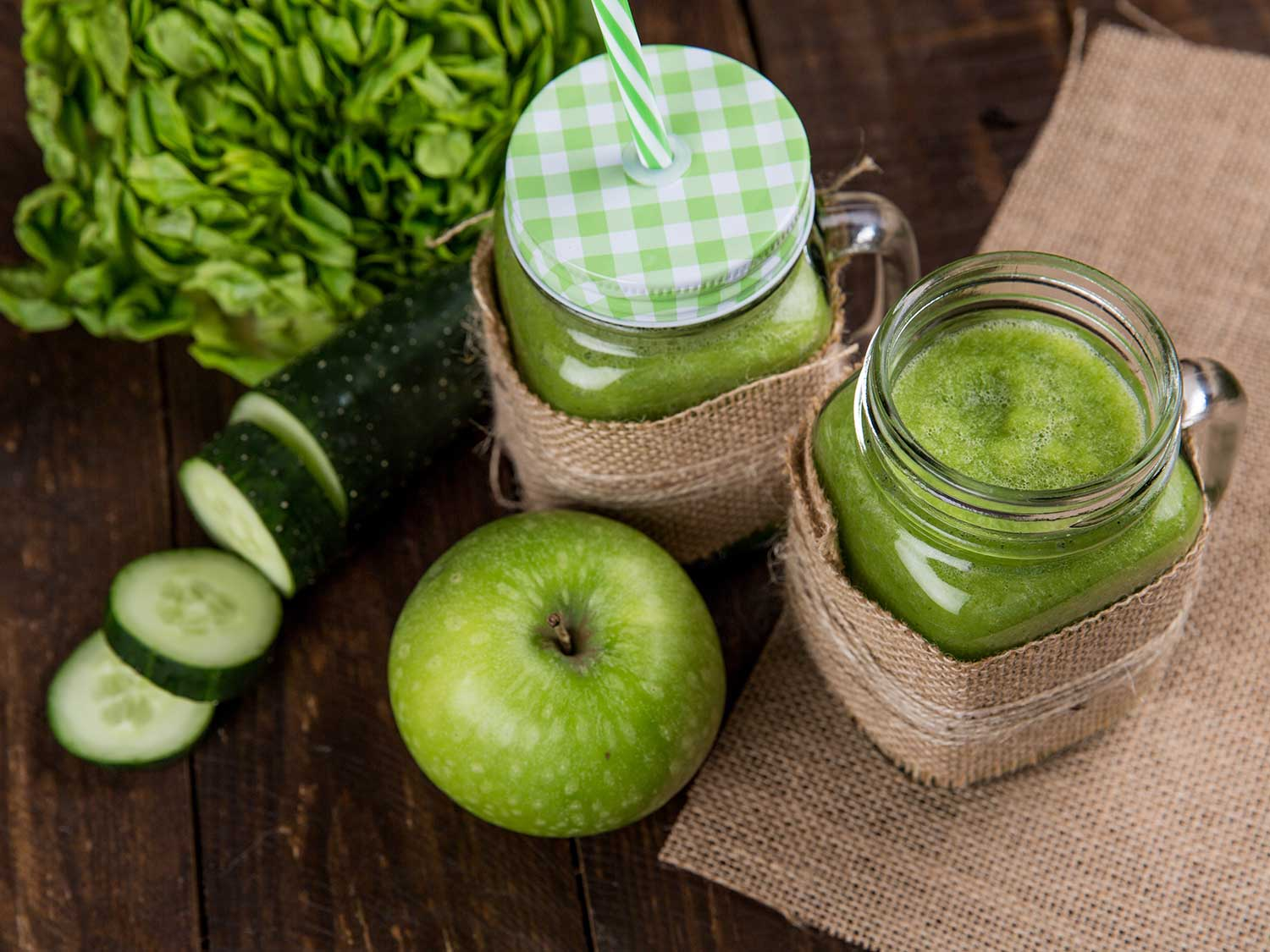 Green apple and cucumber juice.
