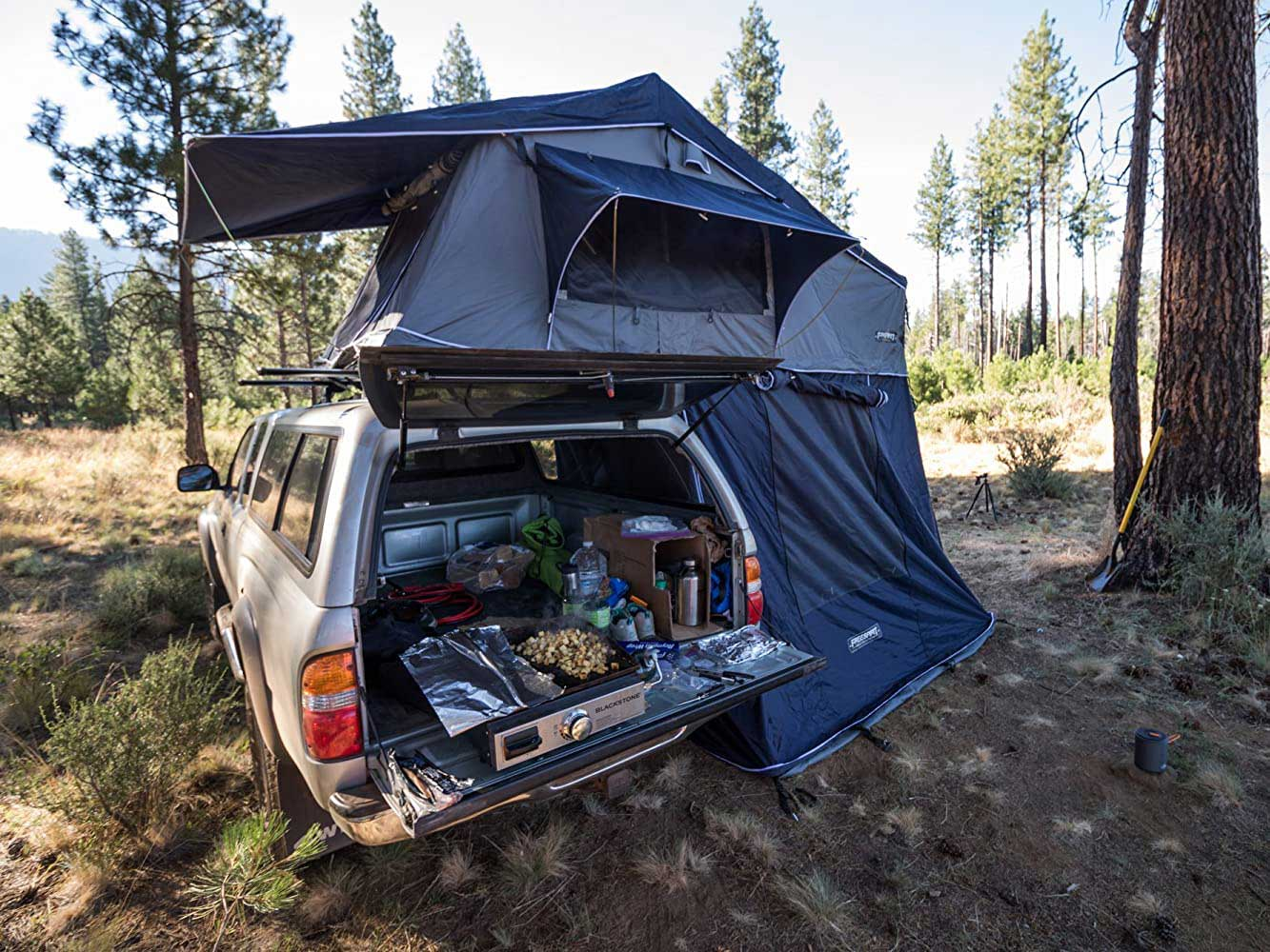 Portable griddle in van while camping.
