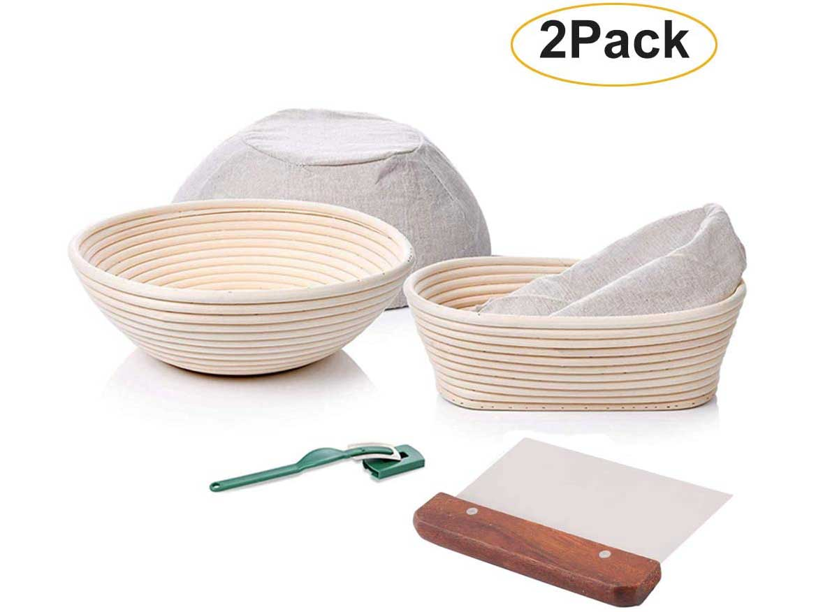 Banneton Bread Proofing Basket Set - 9 Inch Round & 10 Inch Oval, Sourdough Natural Rattan Proofing Baskets with Dough Scraper Linen Liner Cloth Bread Lame for Artisan & Home Bakers