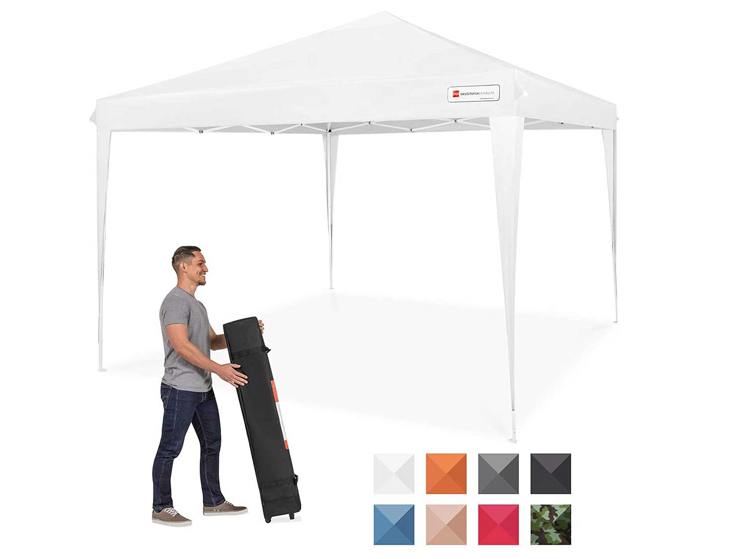 Best Choice Products Outdoor Portable Adjustable Instant Pop Up Gazebo Canopy Tent w/Carrying Bag, 10x10ft - White