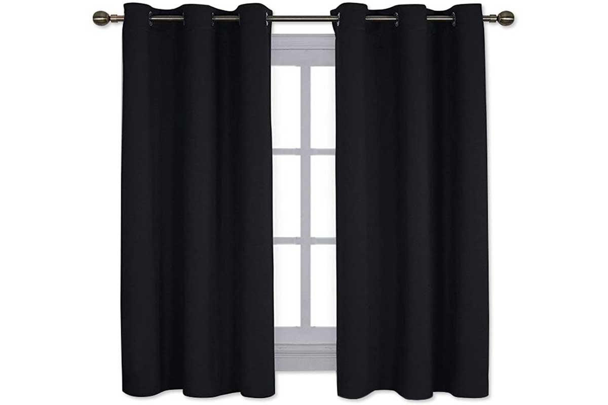 Pitch Black Solid Thermal Insulated Grommet Blackout Curtains