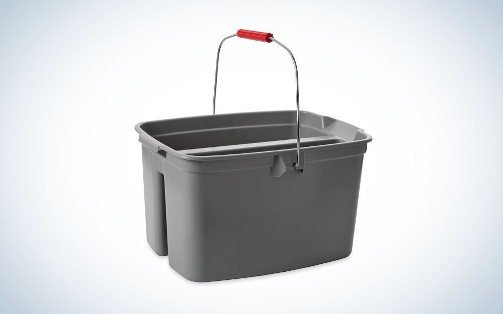 The Rubbermaid Commercial Products Double Pail Plastic Bucket is the best basic mop bucket.