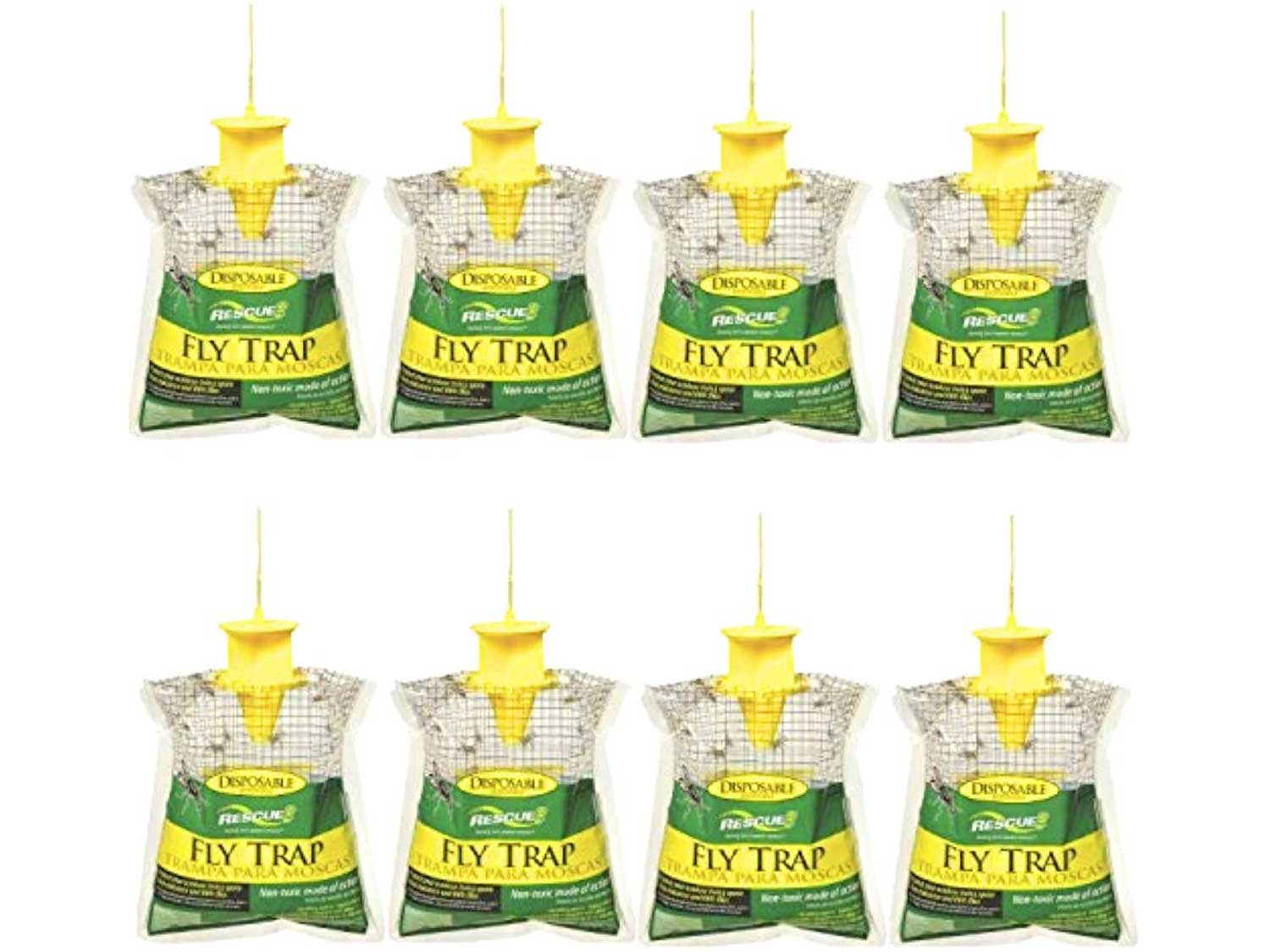RESCUE! Outdoor Disposable Hanging Fly Trap – 8 Pack