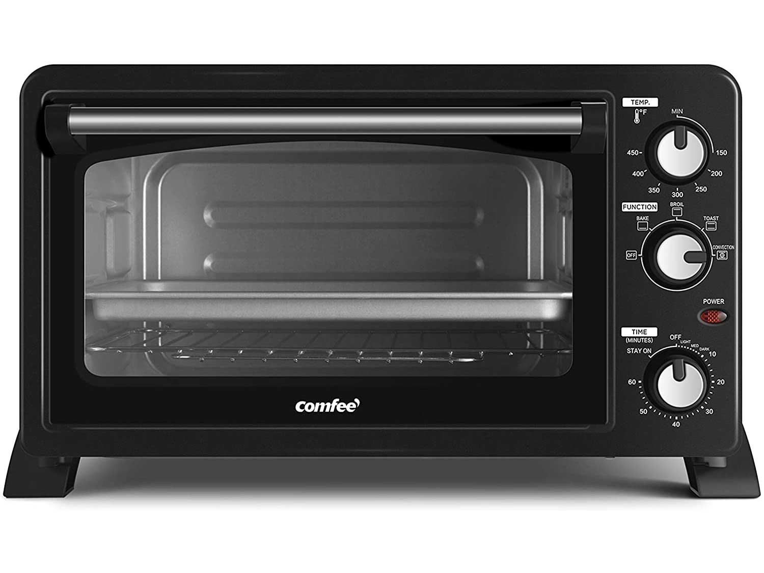 COMFEE' 6-Slice Toaster Oven Countertop with Convection, 1500W, Bake-Broil-Toast Setting, Includes Baking Pan, Baking Rack and Crumb Tray, Black