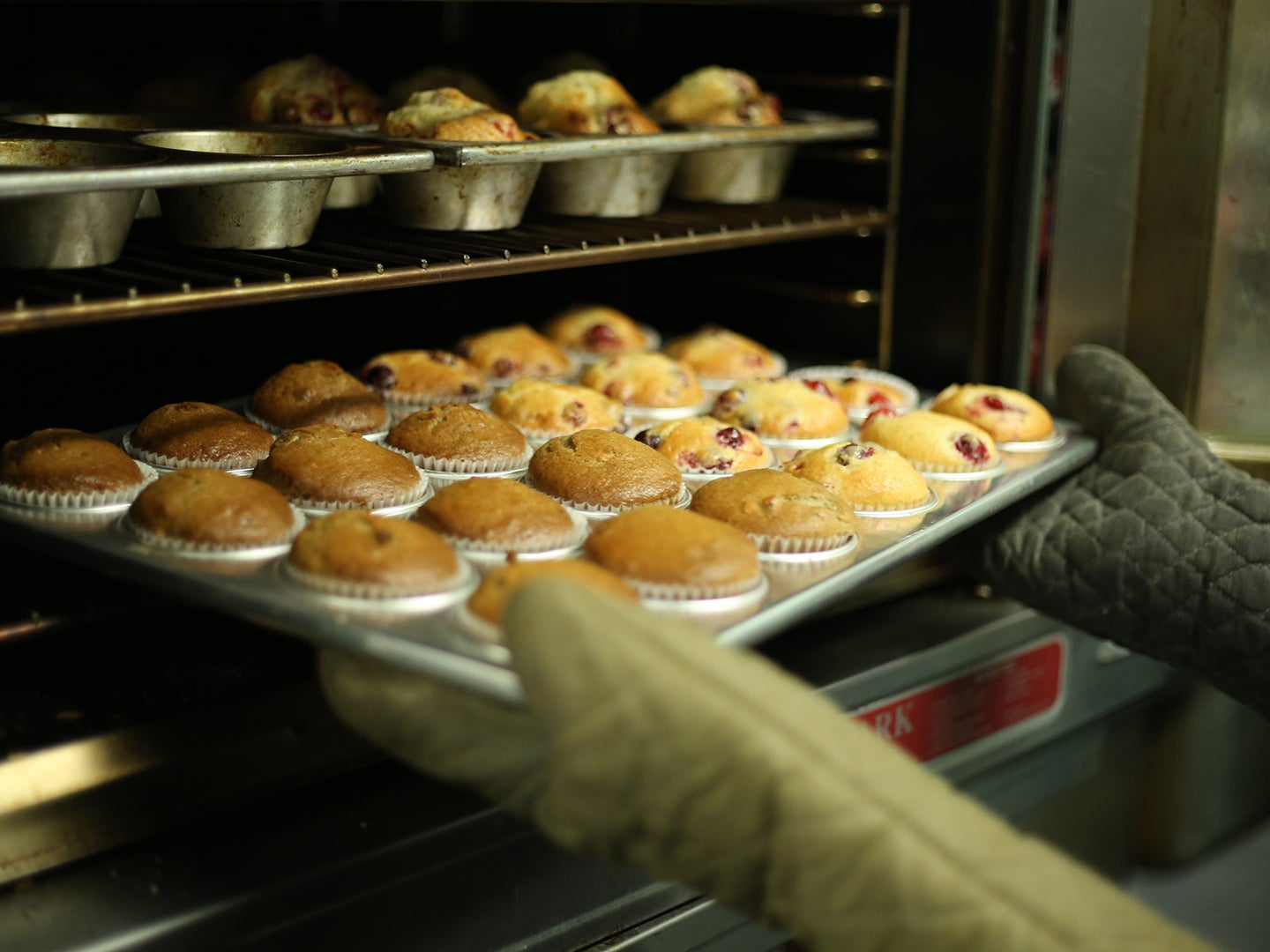 Removing muffins from oven with oven mitts.