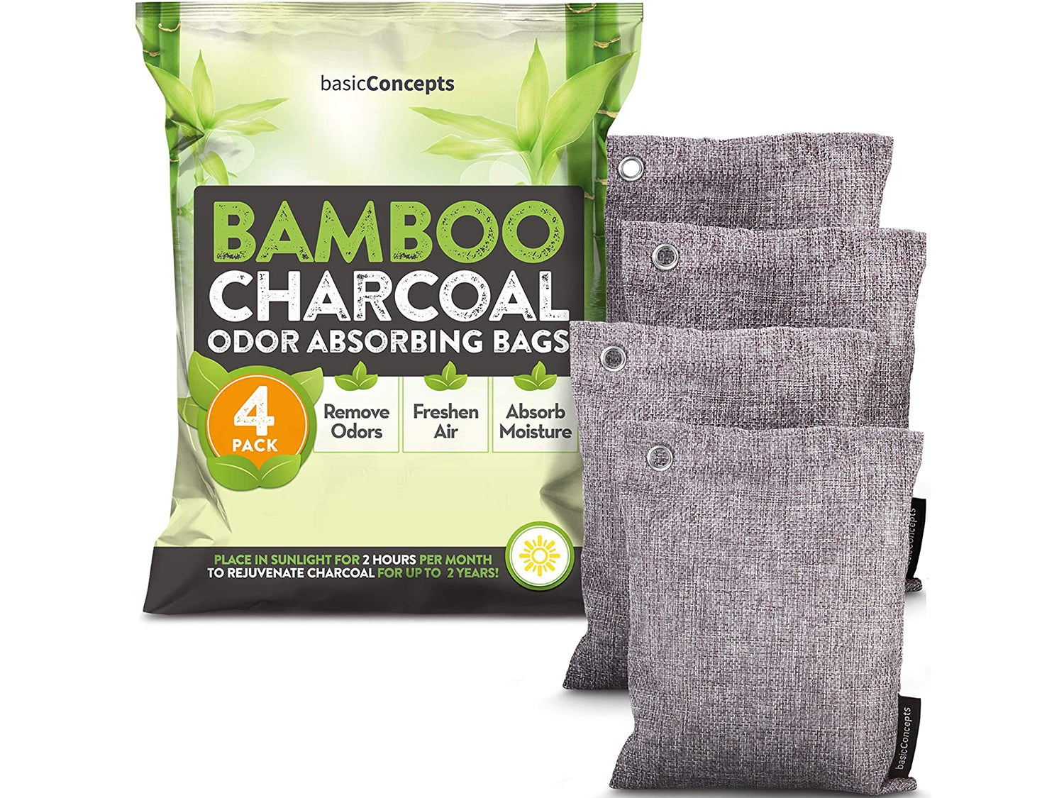 Bamboo Charcoal Air Purifying Bags (4 Pack), Charcoal Bags Odor Absorber for Home and Car (Pet Friendly) - Charcoal Air Purifying Bags