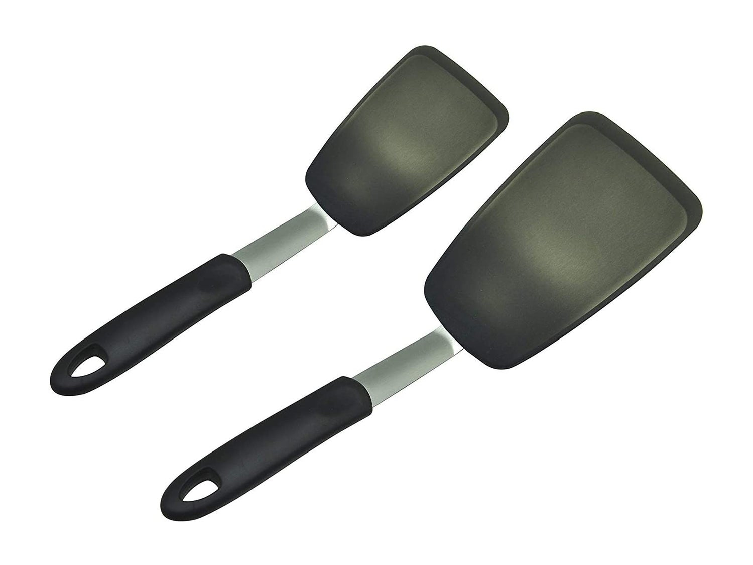 Unicook 2 Pack Flexible Silicone Spatula, Turner, 600F Heat Resistant, Ideal for Flipping Eggs, Burgers, Crepes and More, Black