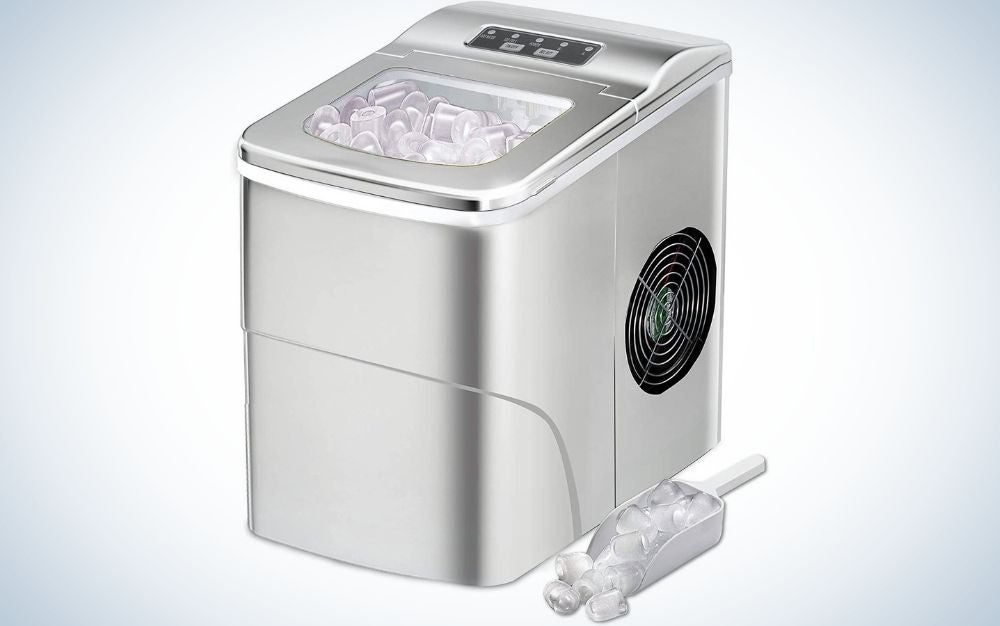 The Aglucky Countertop Ice Machine is the best countertop ice maker that's compact.