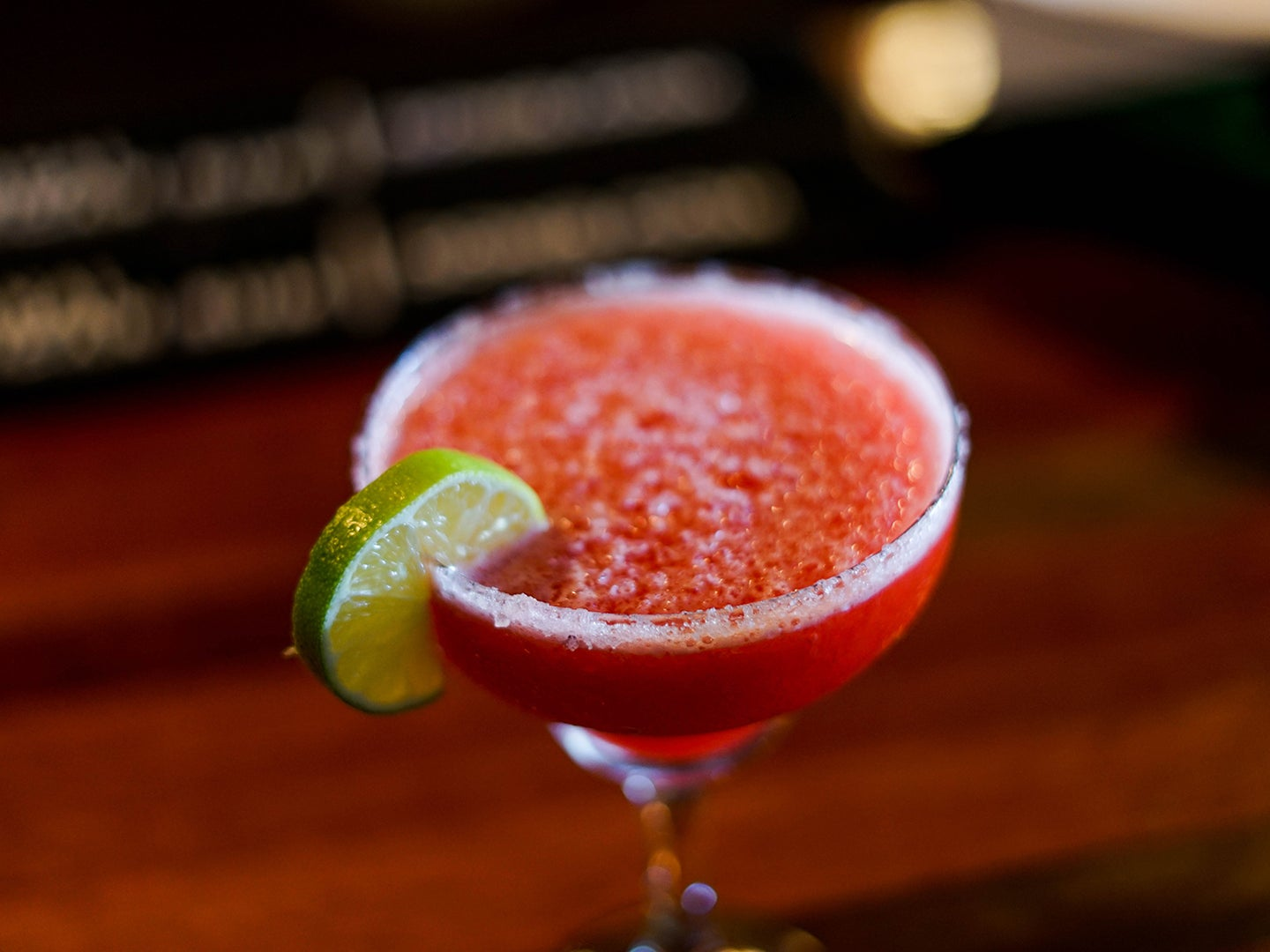 Red margarita with lime