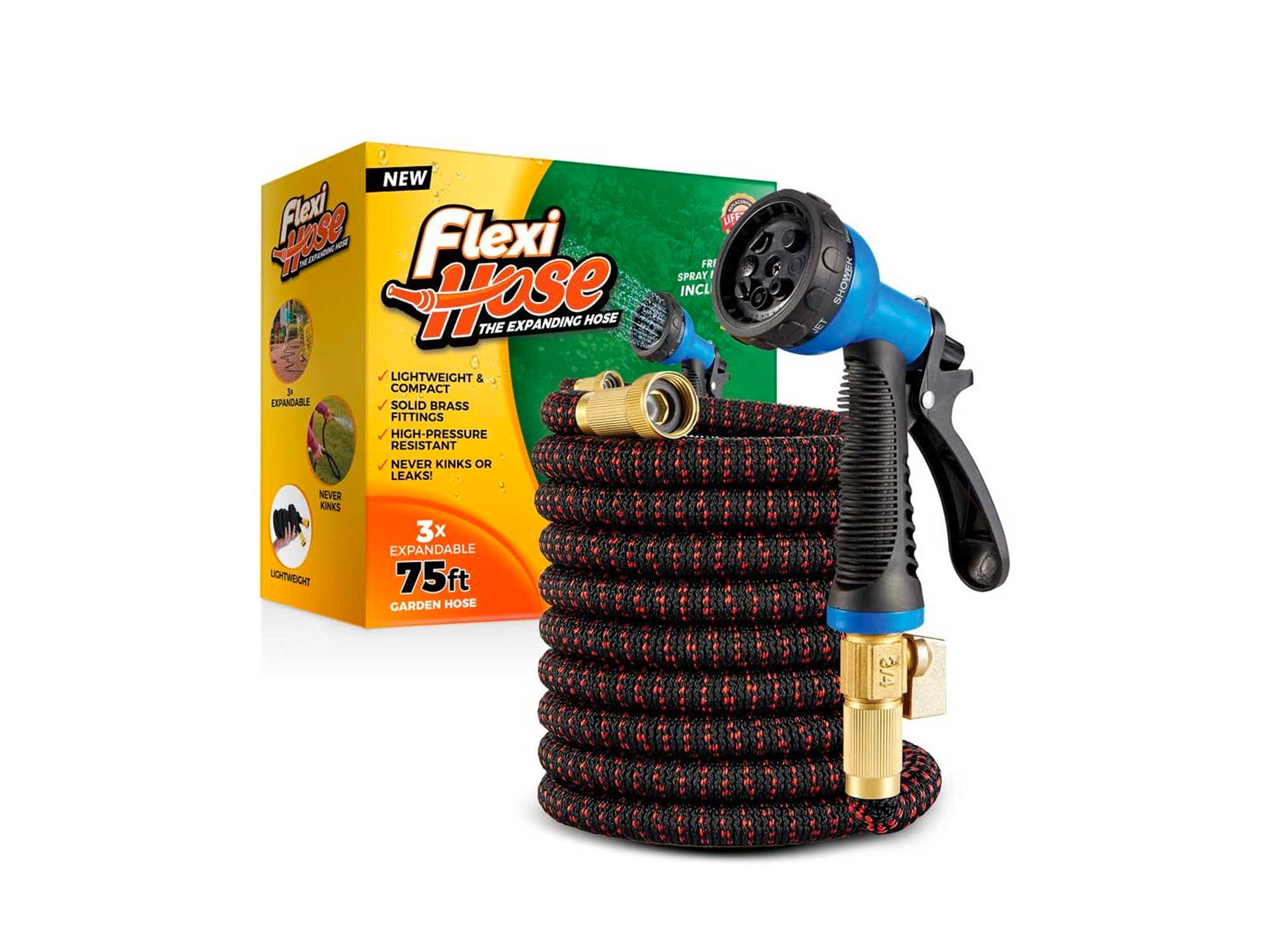 Flexi Hose Lightweight Expandable Garden Hose | No-Kink Flexibility - Extra Strength with 3/4 Inch Solid Brass Fittings & Double Latex Core | Rot, Crack, Leak Resistant (75 FT, Red/Black)