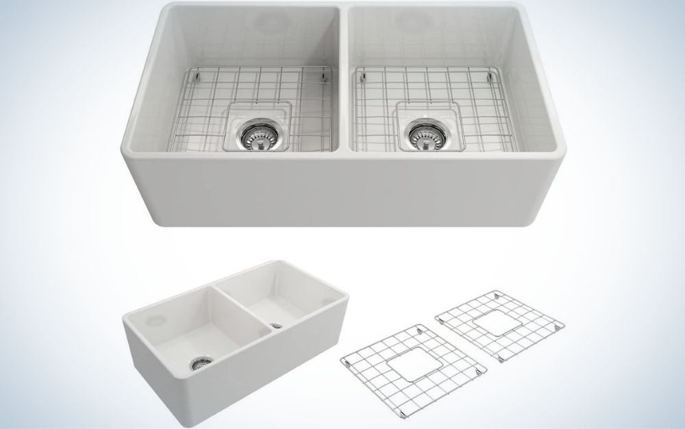 The Bocchi Classico Double Bowl Apron Front Sink is the best double basin.