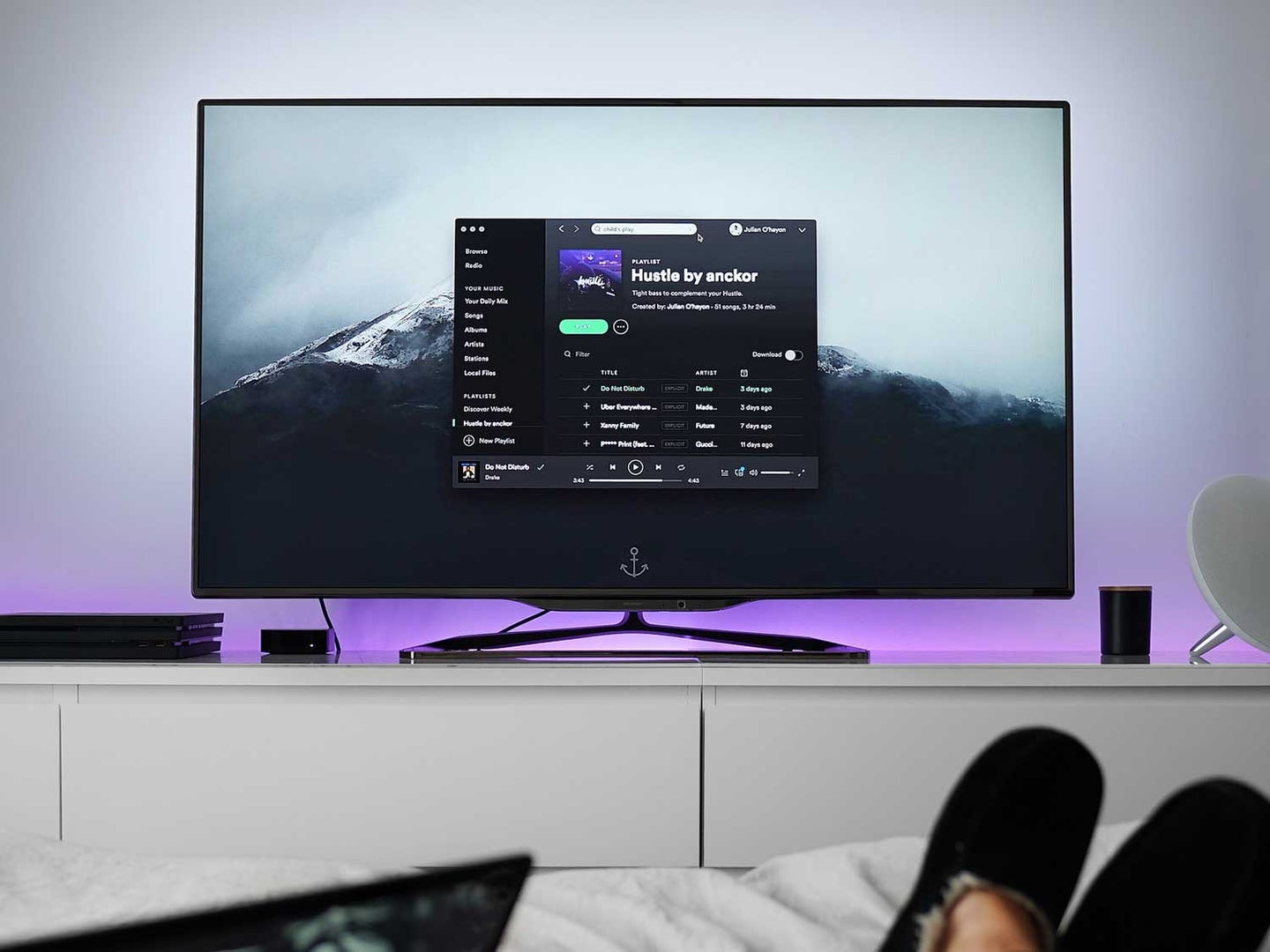 Spotify playing on tv.