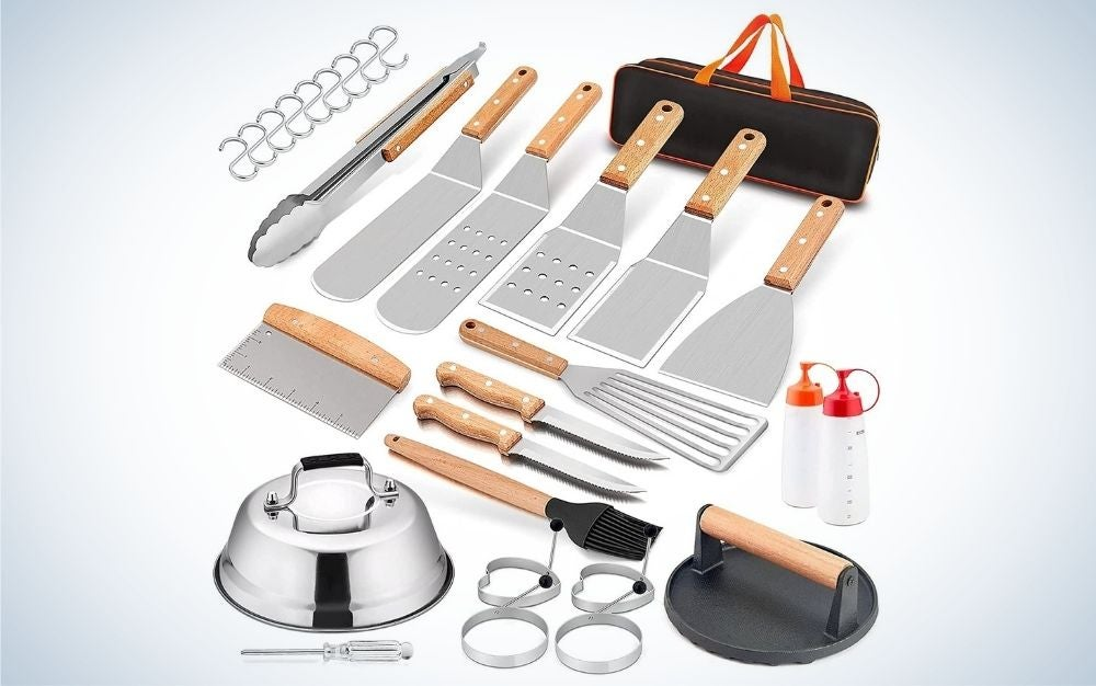 HaSteel Complete 20-Piece Griddle is the best overall griddle accessories set.
