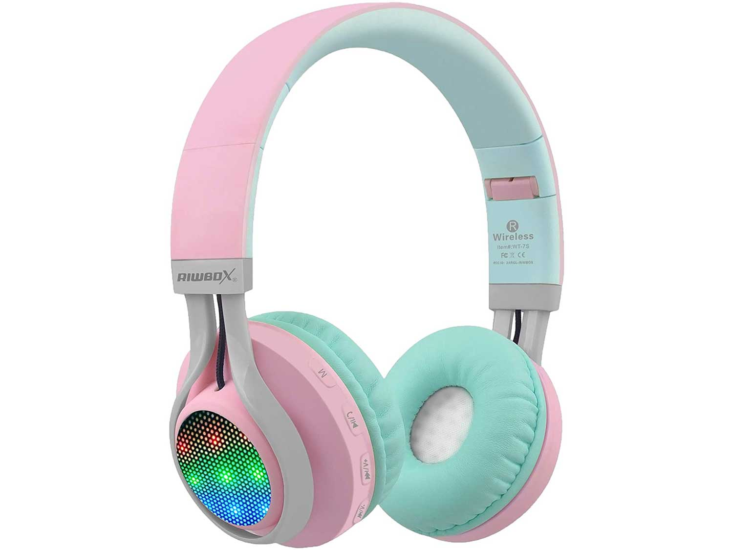 Riwbox WT-7S Bluetooth Headphones Light Up, Foldable Stero Wireless Headset with Microphone and Volume Control for PC/Cell Phones/TV/iPad (Pink Green)