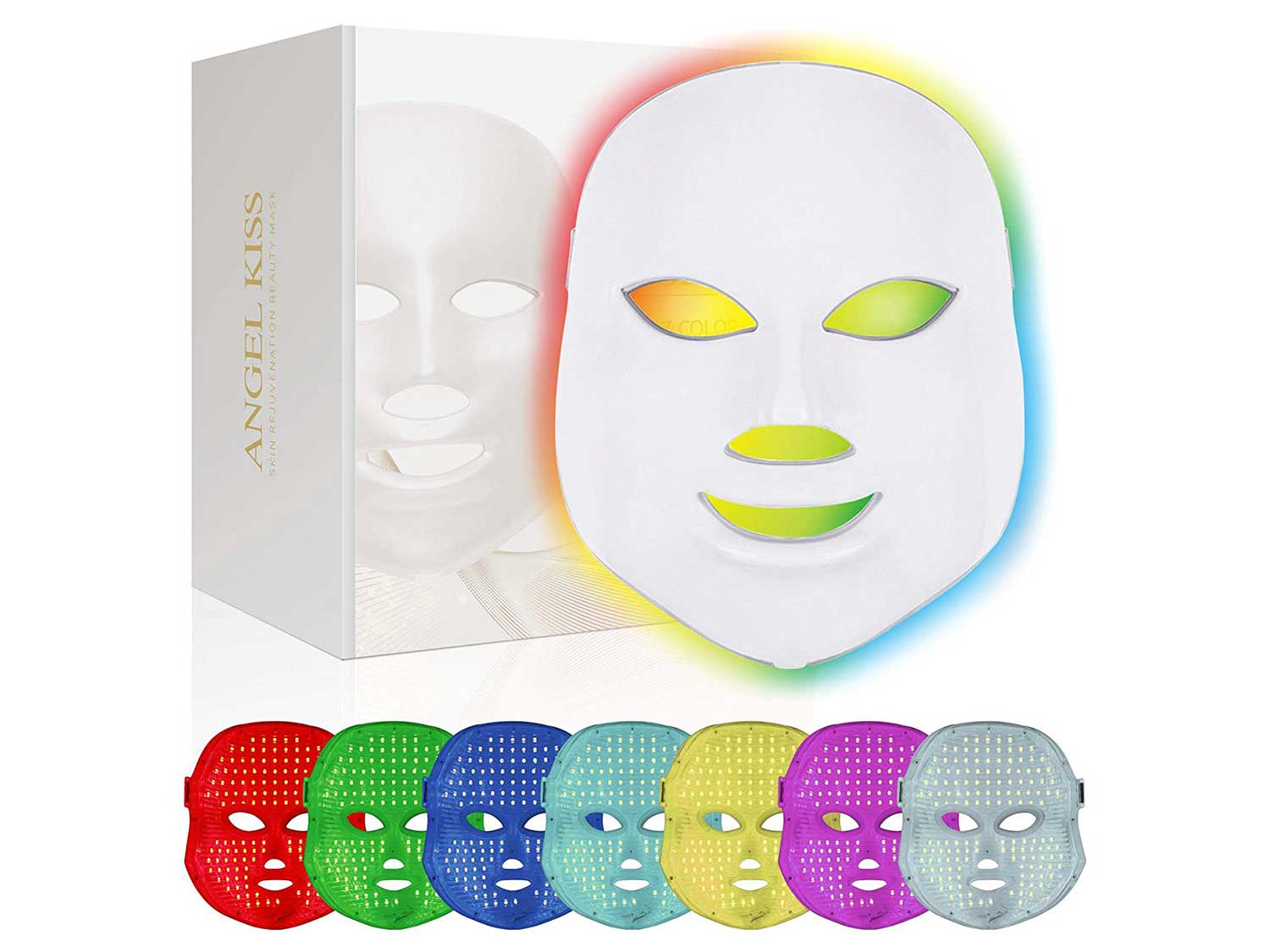 Face Led Mask -Angel Kiss 7 Color Blue Red Light Therapy Photon Mask Facial Skin Rejuvenation Firming Lift PDT Skin Care Mask
