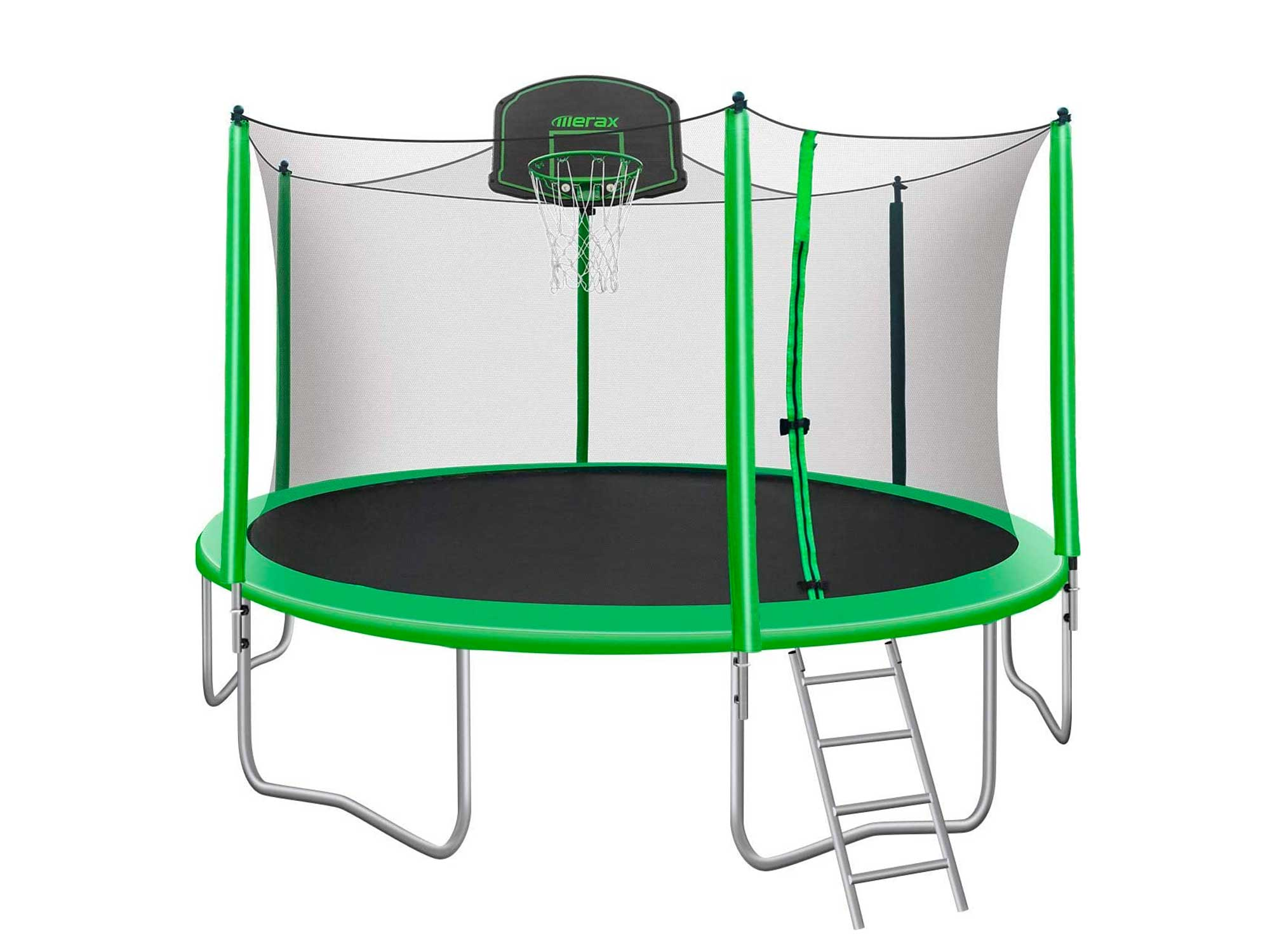 Merax 14FT 15FT Trampoline with Enclosure Kids Trampoline with Basketball Hoop, Ladder and Backboard Net