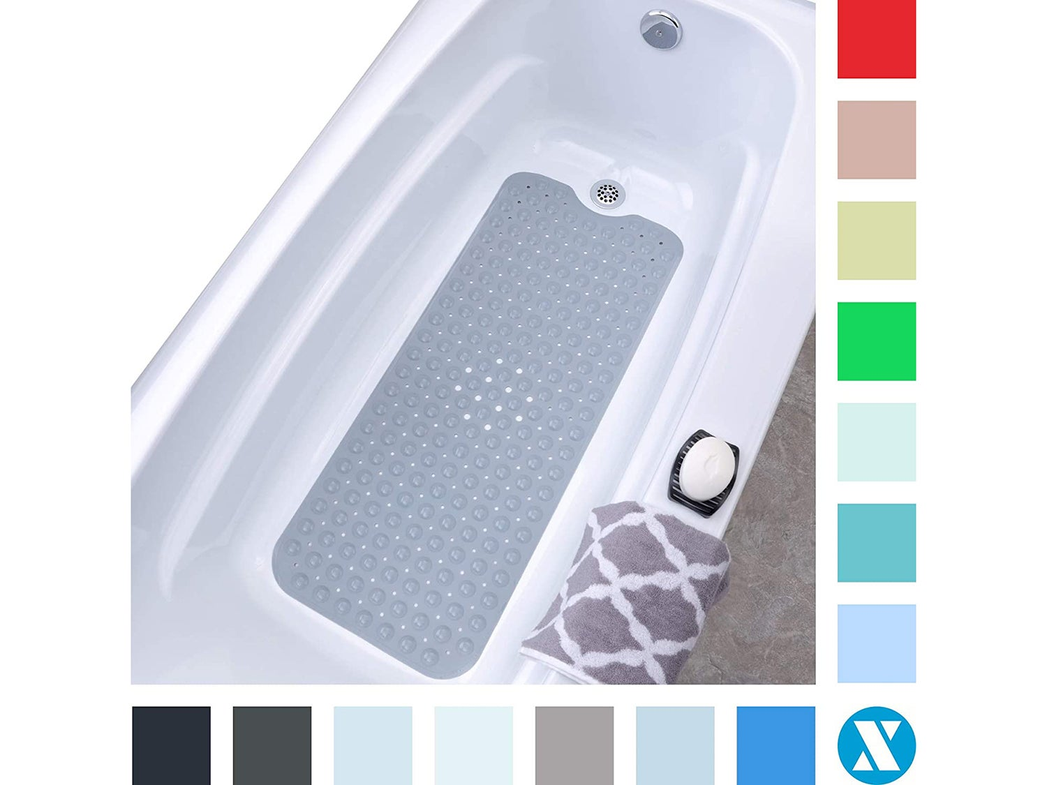 "SlipX Solutions Gray Extra Long Bath Mat Adds Non-Slip Traction to Tubs & Showers - 30% Longer Than Standard Mats! (200 Suction Cups, 39"" Long Bathtub Mat)"