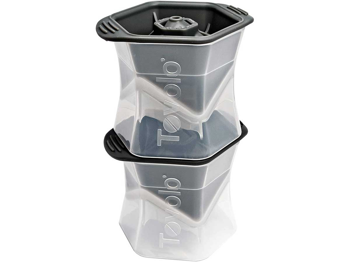 Tovolo Leak-Free, Slow-Melting Colossal 2.25-Inch Cube Ice Silicone Sealed Lid Anti-Tip
