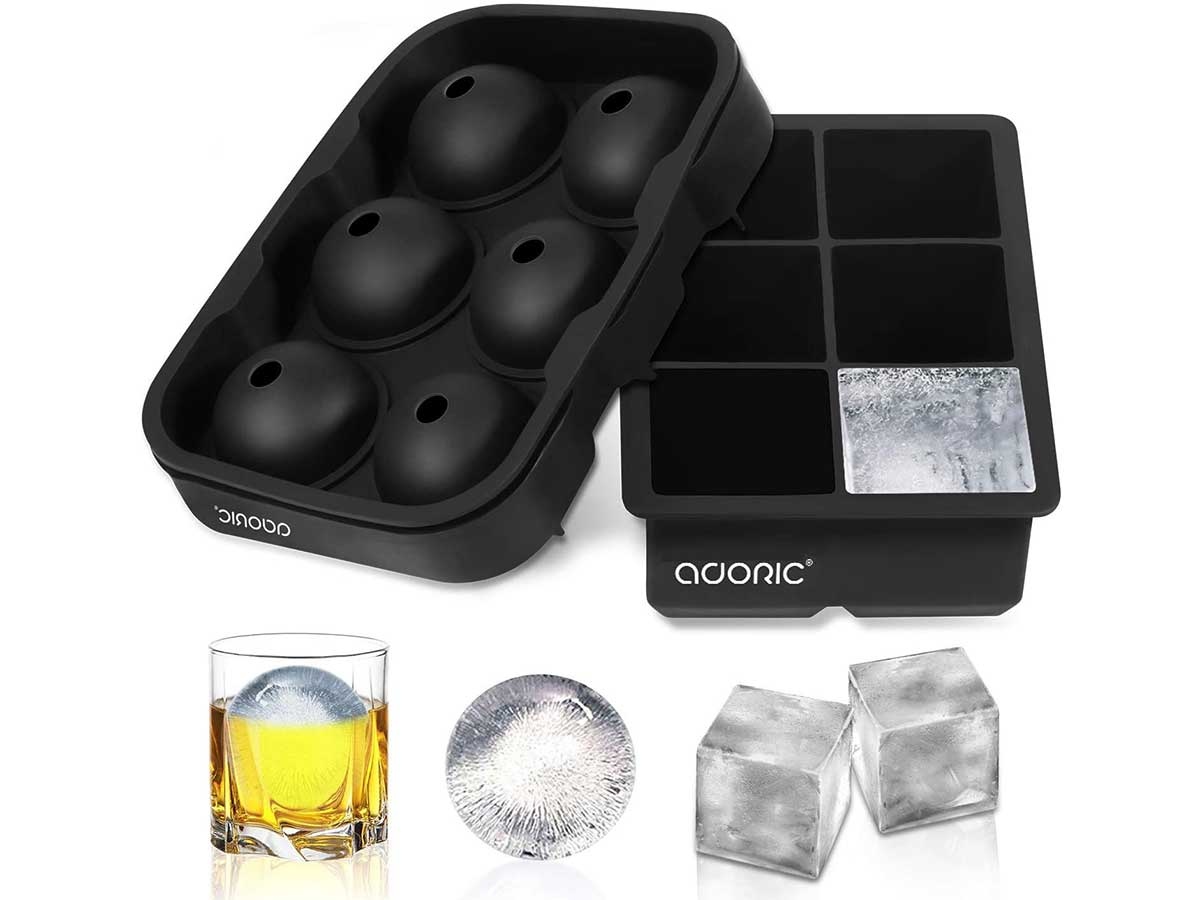 Adoric Ice Cube Trays Silicone Set of 2, Sphere Ice Ball Maker with Lid and Large Square Ice Cube Molds for Whiskey