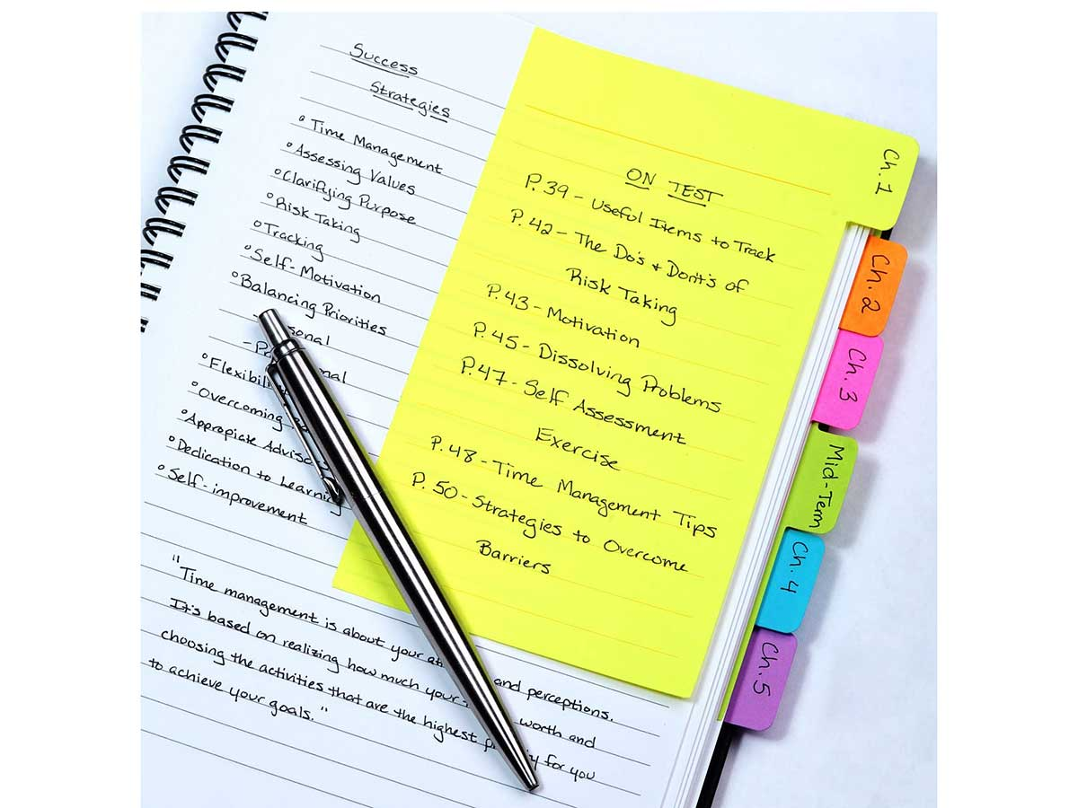 Redi-Tag Divider Sticky Notes, Tabbed Self-Stick Lined Note Pad