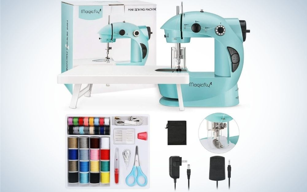The Magicfly Mini Sewing Machine with Extension Table is the best sewing machine for kids and beginners.