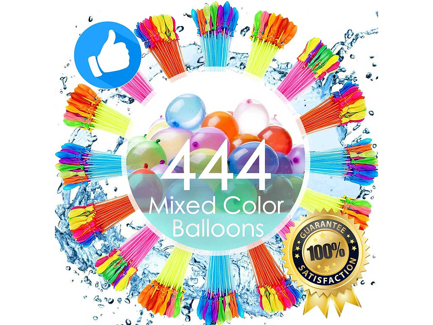 FEECHAGIER Water Balloons for Kids Girls Boys Balloons Set Party Games Quick Fill 444 Balloons 12 Bunches for Swimming Pool Outdoor Summer Fun 92